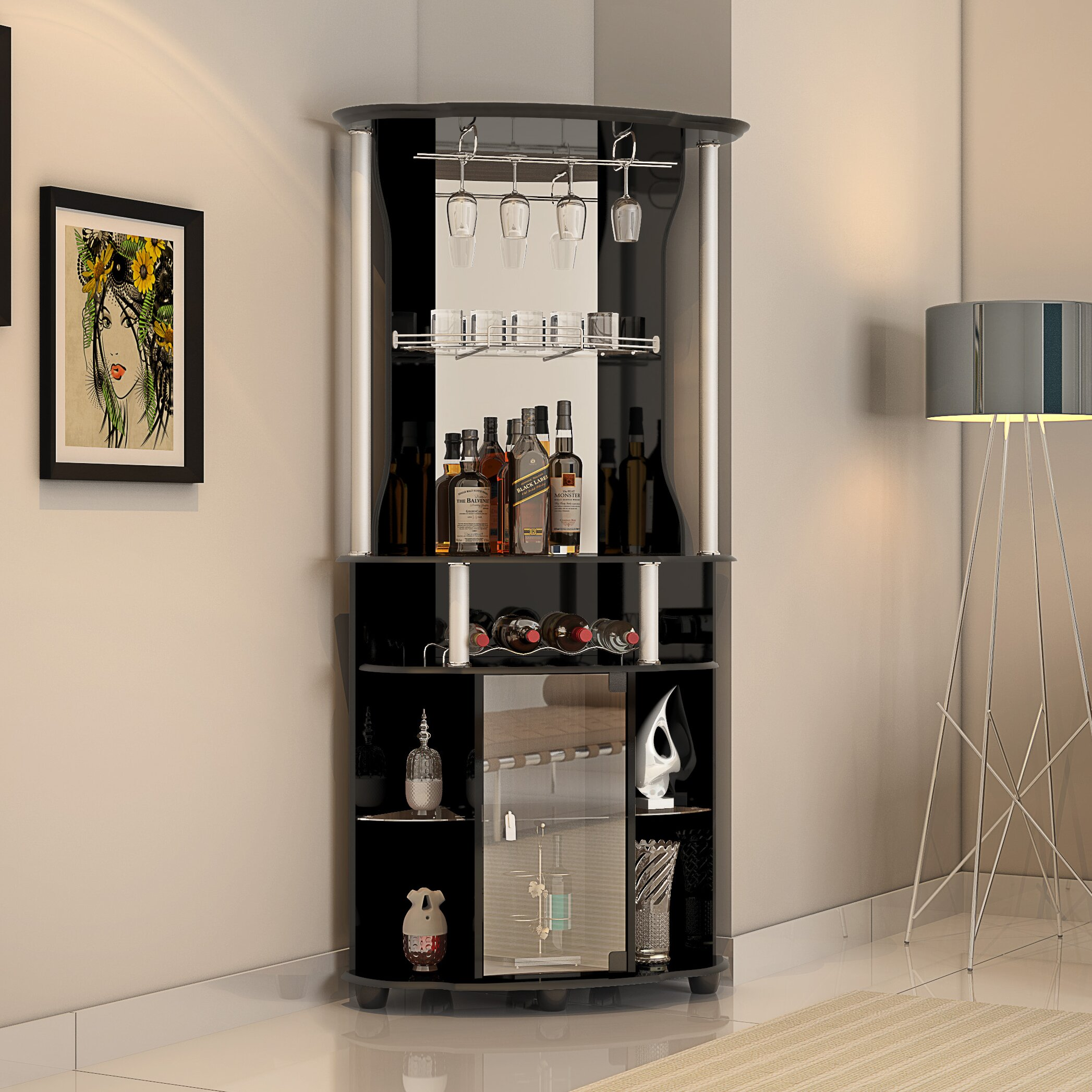 Hodedah bar with wine storage reviews wayfair - Wine cabinets for small spaces set ...