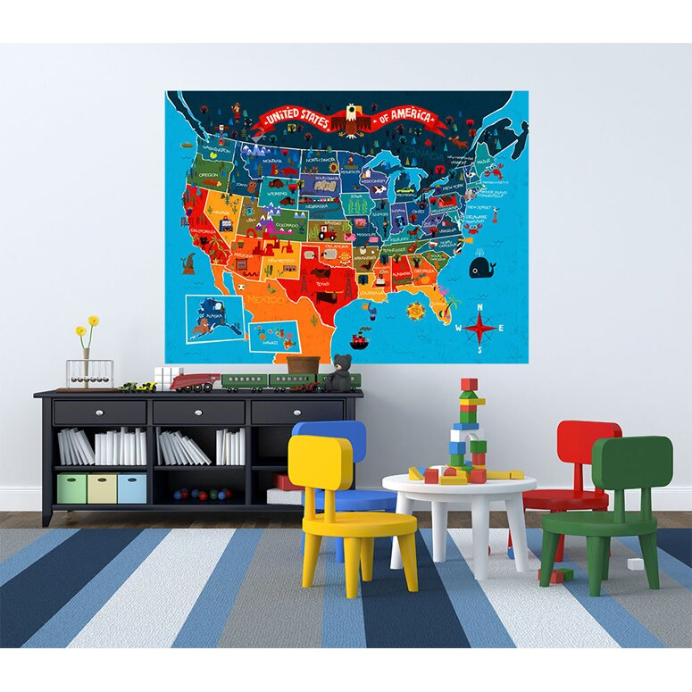 America the beautiful wall mural wayfair for Beautiful wall mural