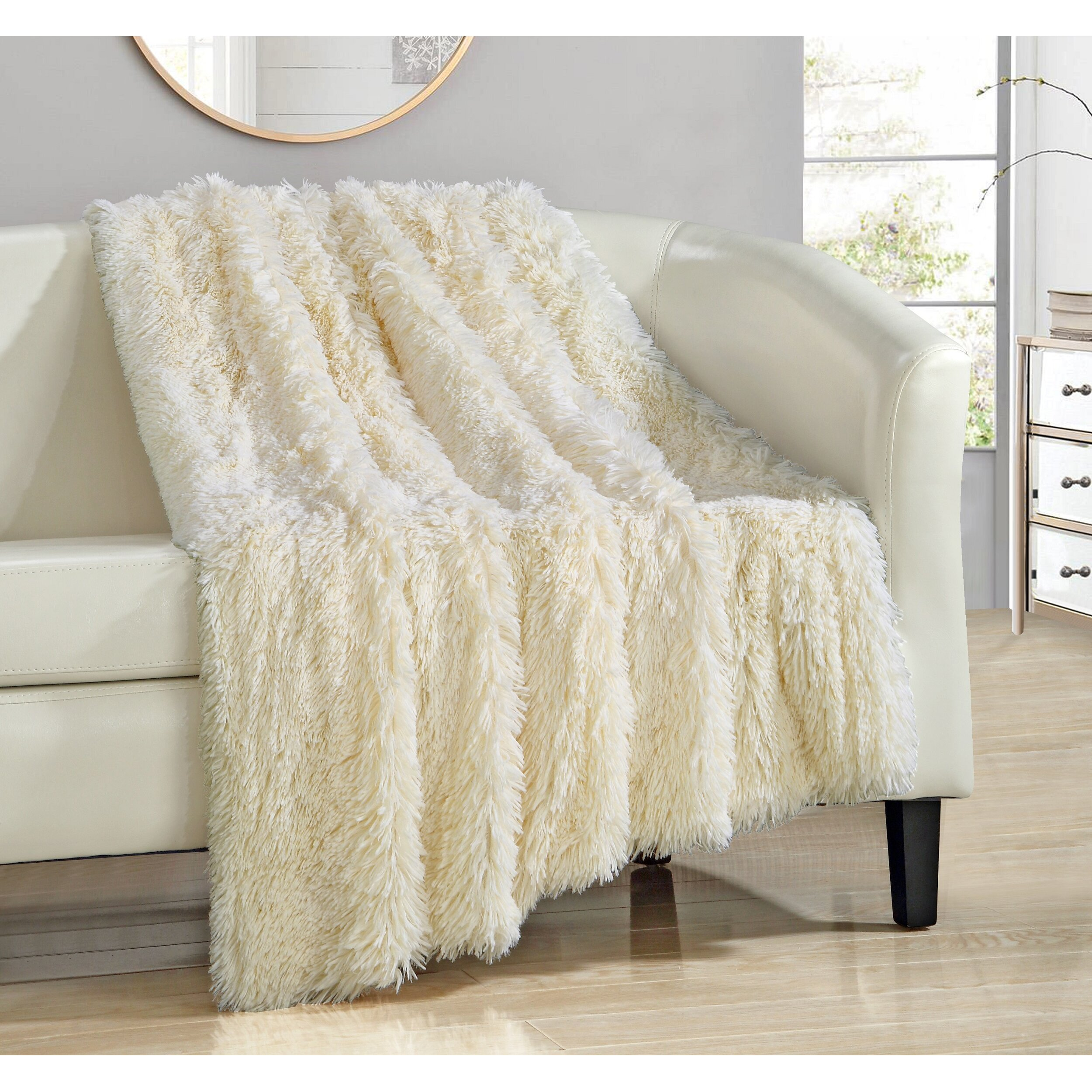 chic home elana shaggy faux fur supersoft ultra plush decorative throw blanket reviews wayfair. Black Bedroom Furniture Sets. Home Design Ideas