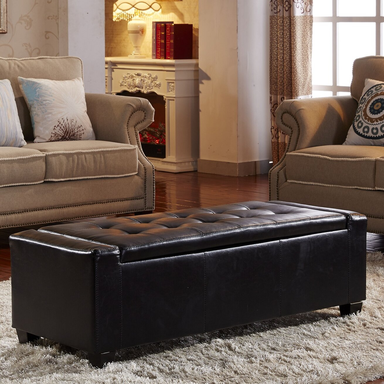 Contemporary Leather Storage Entryway Bench Wayfair