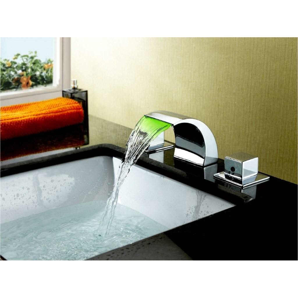 Hi Tech Kitchen Faucet Double Handle Widespread Led Waterfall Bathroom Sink