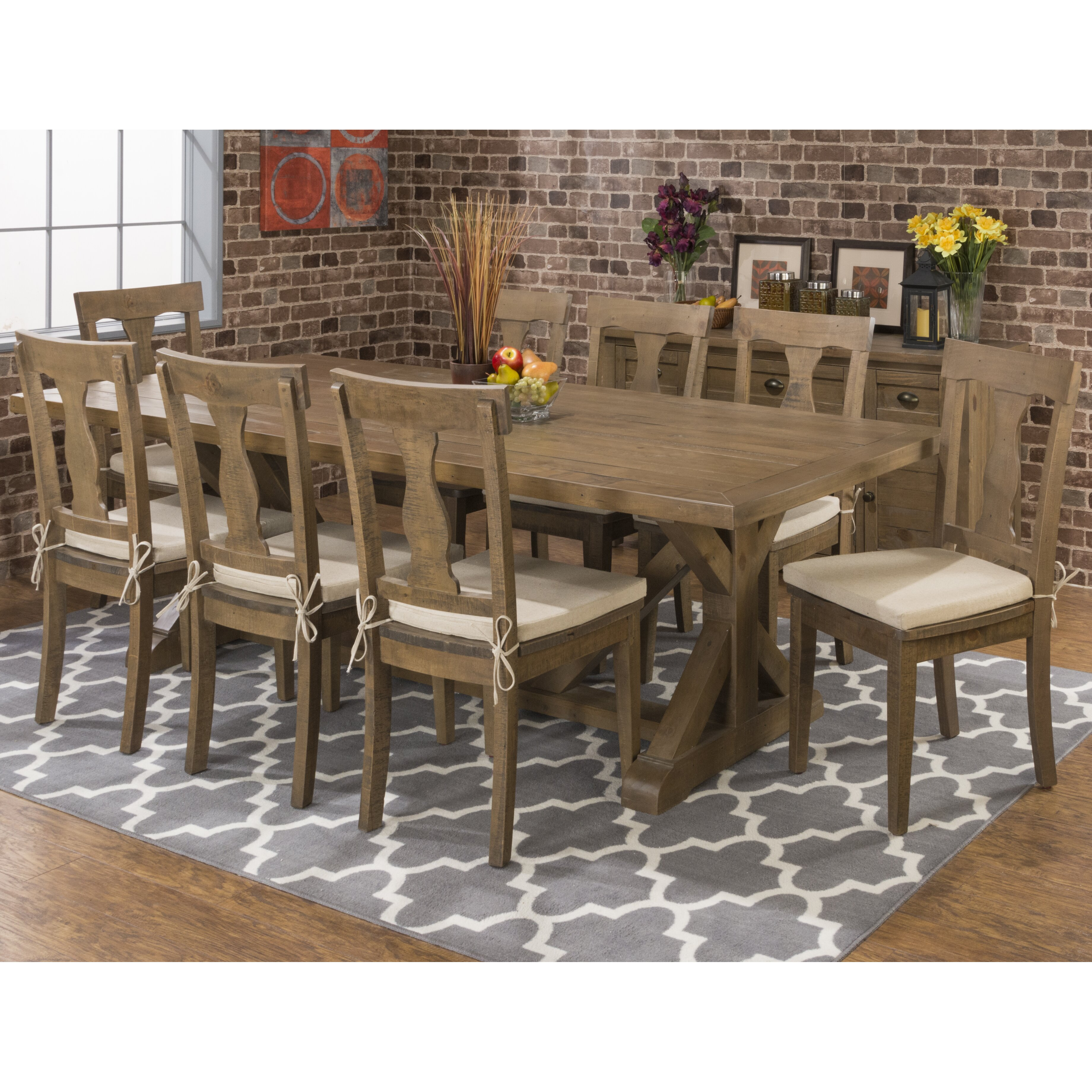 Jofran 737 66 round wooden dining table chairs set butterfly leaf - Previousnext