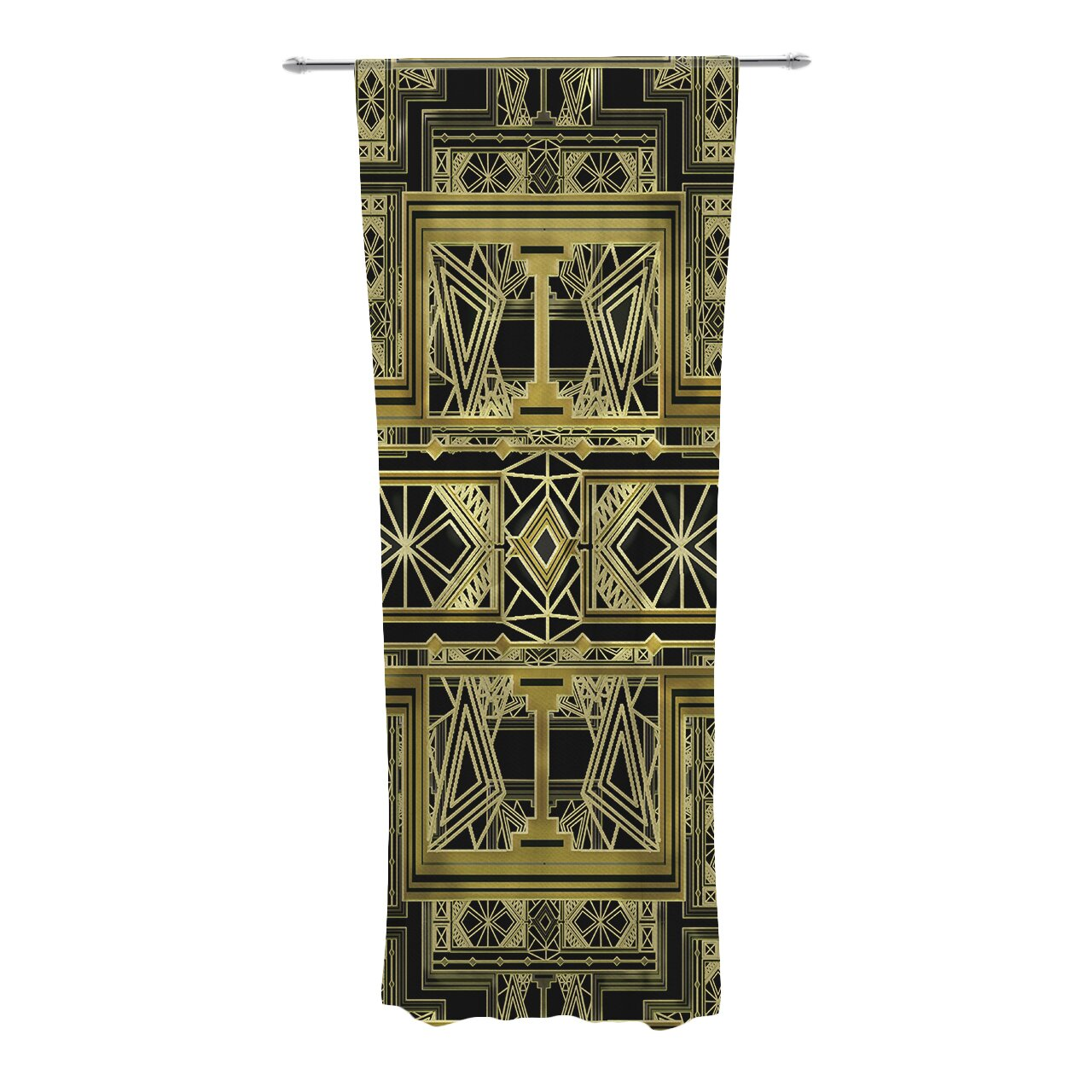 Golden Art Deco Curtain Panels