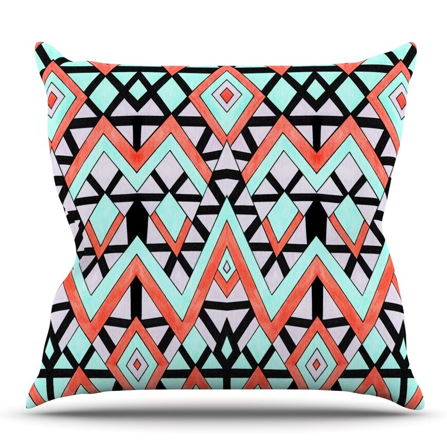 Geometric mountains by pom graphic design outdoor throw