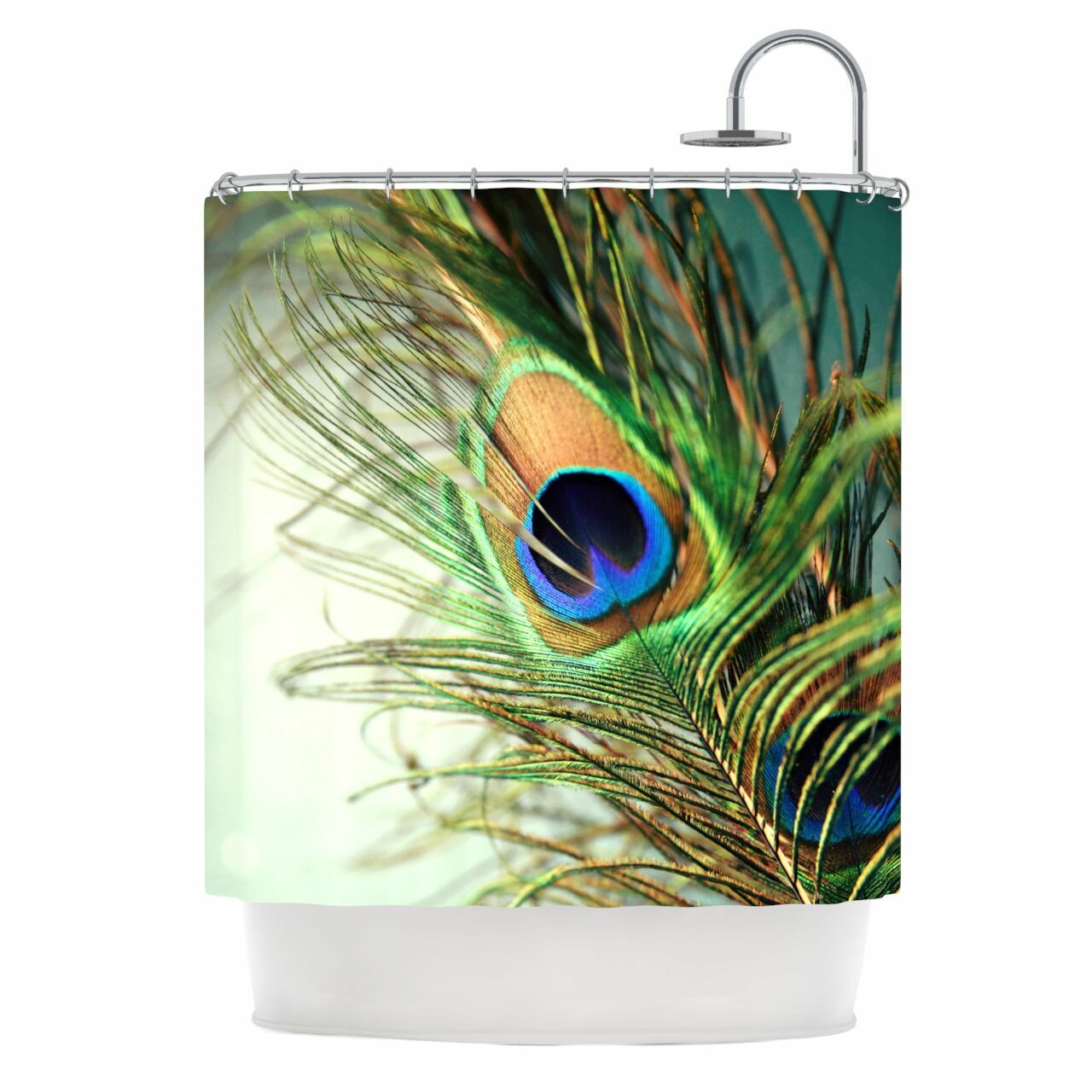 peacock feather shower curtain by kess inhouse