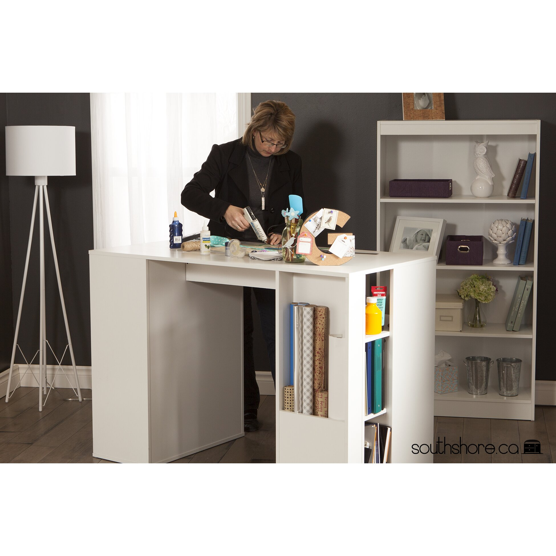 crea counter height craft table wayfair. Black Bedroom Furniture Sets. Home Design Ideas