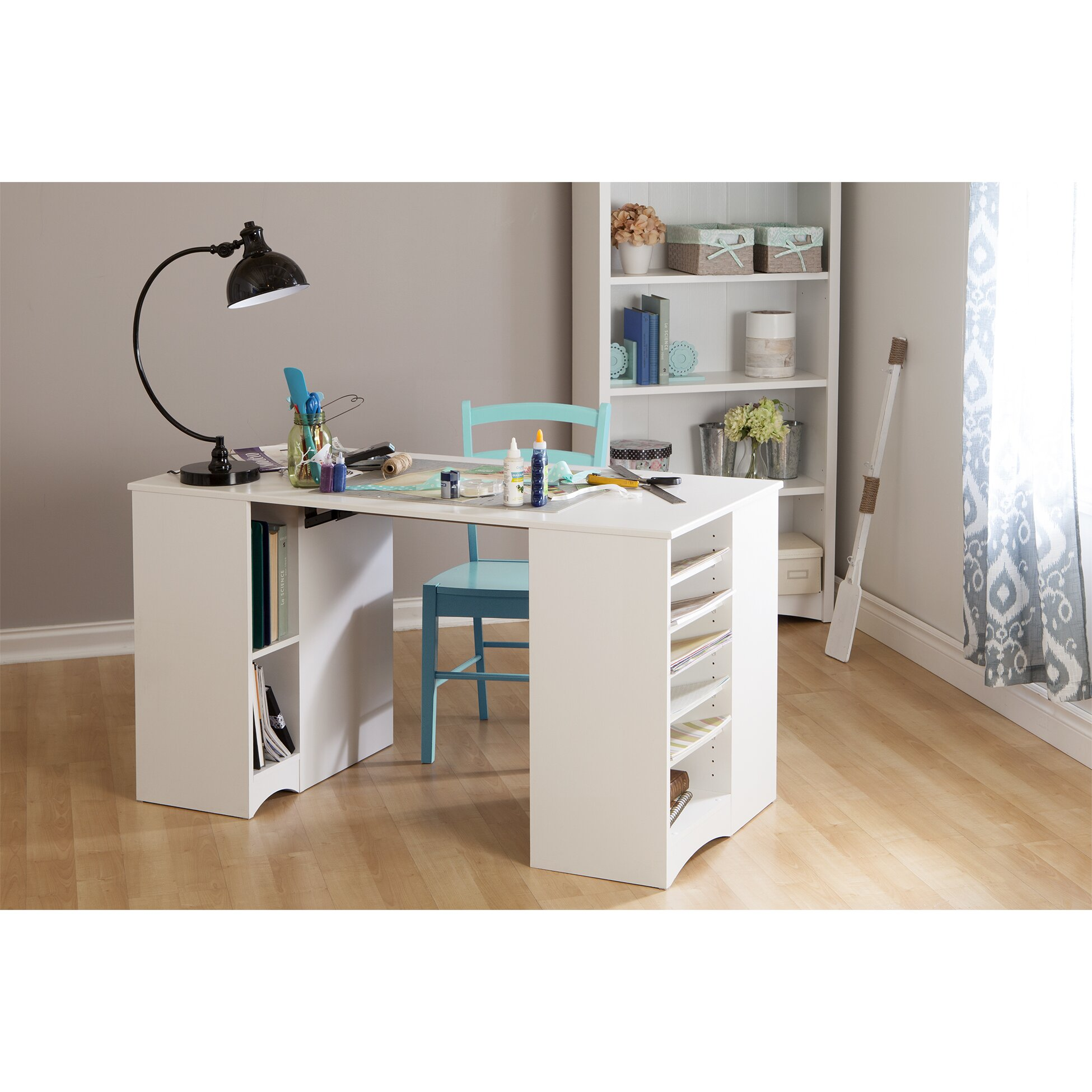 Artwork craft writing desk with storage wayfair - Craft desk with storage ...
