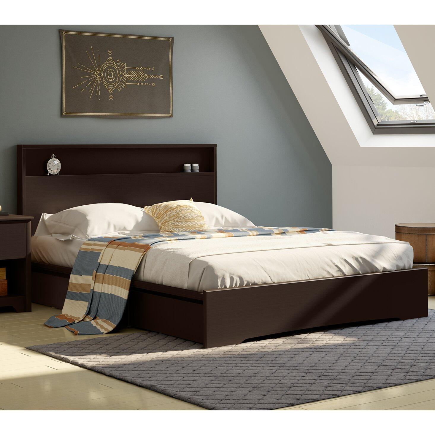 south shore queen storage platform bed reviews wayfair. Black Bedroom Furniture Sets. Home Design Ideas