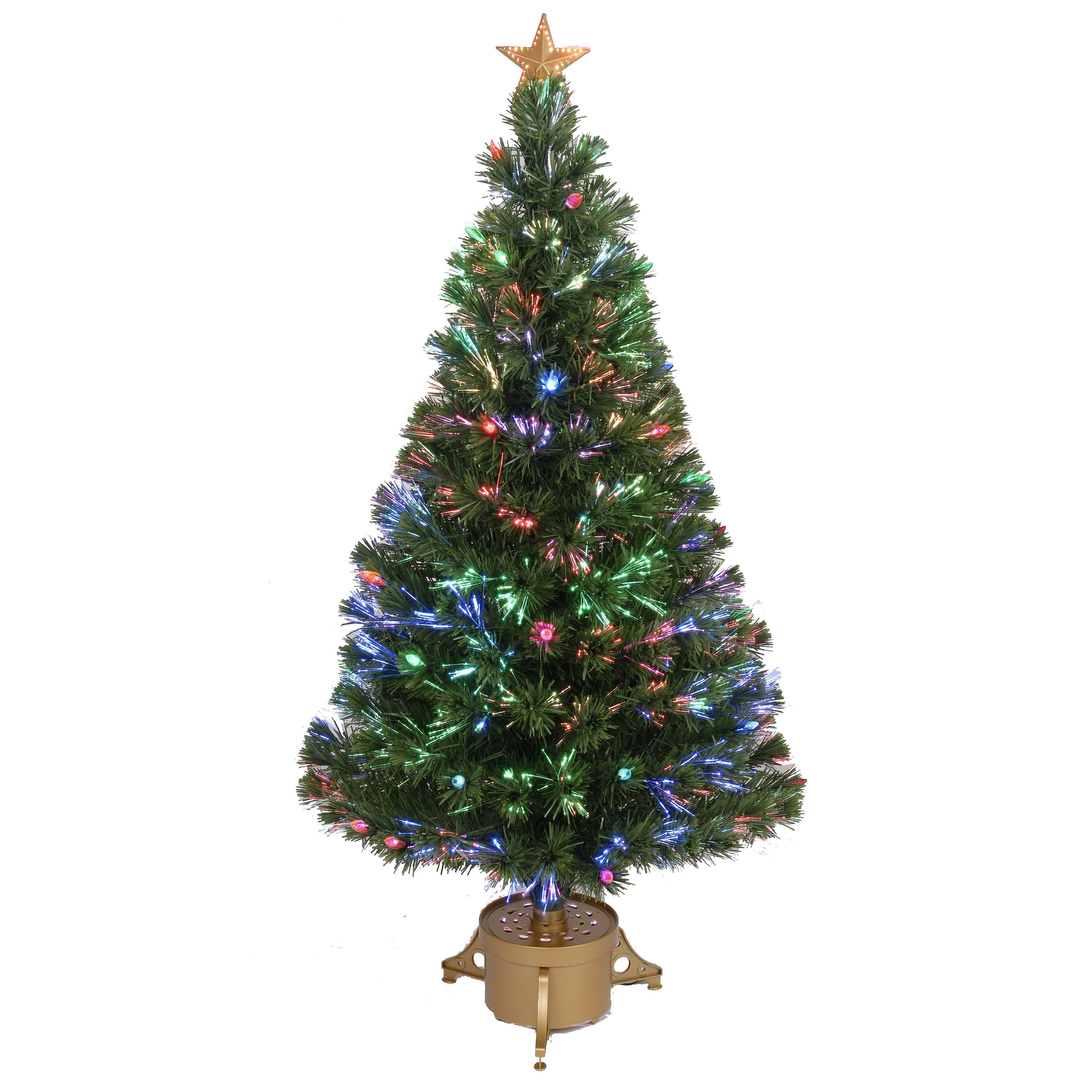 Fibre Optic Christmas Trees Sale: Fiber Optic 4' Green Artificial Christmas Tree With LED