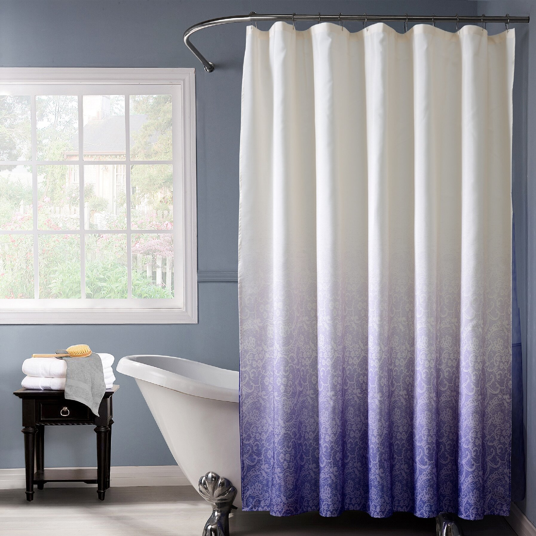 dainty home lace ombre shower curtain reviews wayfair