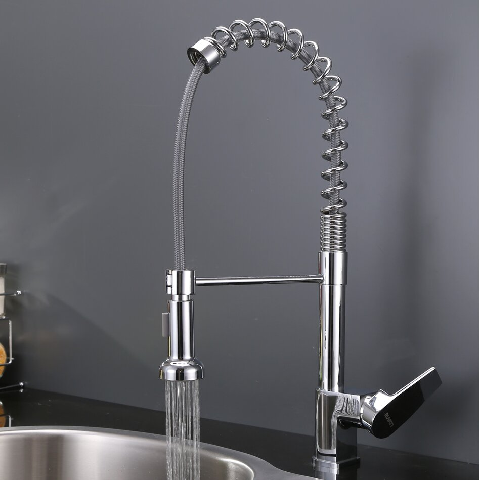 cascada single handle pull down kitchen faucet wayfair
