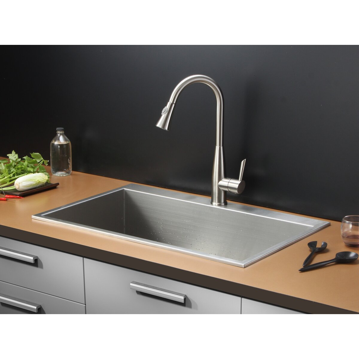 drop in sinks kitchen tirana 33 quot x 21 quot drop in single bowl kitchen sink wayfair 6973