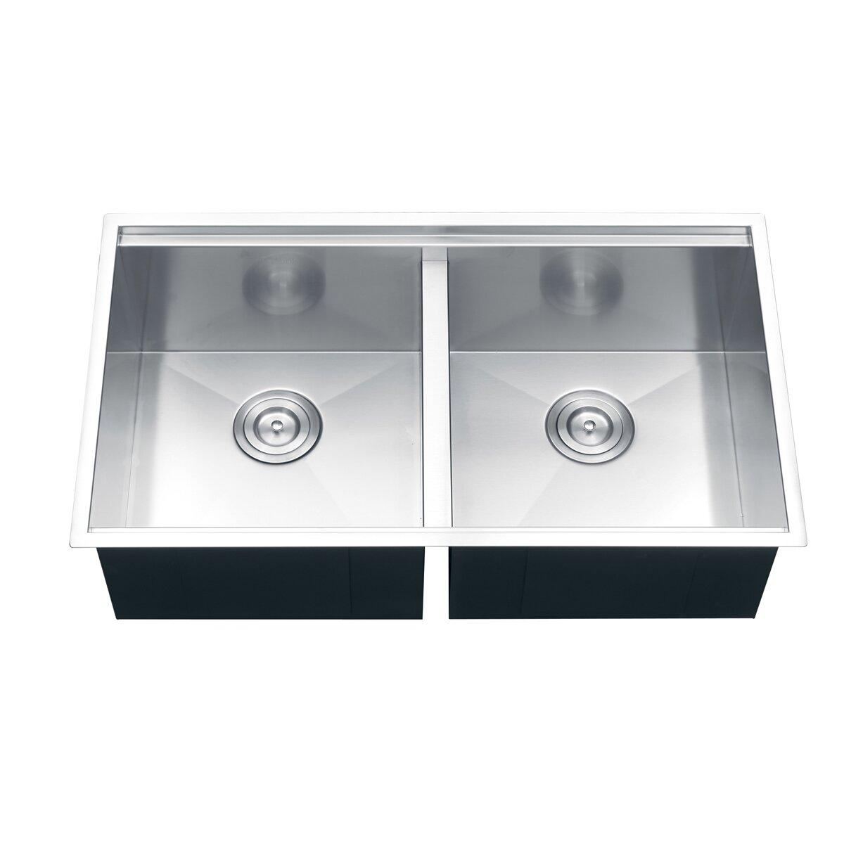 """Kitchen Sink 19 X 33: Roma 33"""" X 19"""" Undermount Double Bowl Kitchen Sink"""