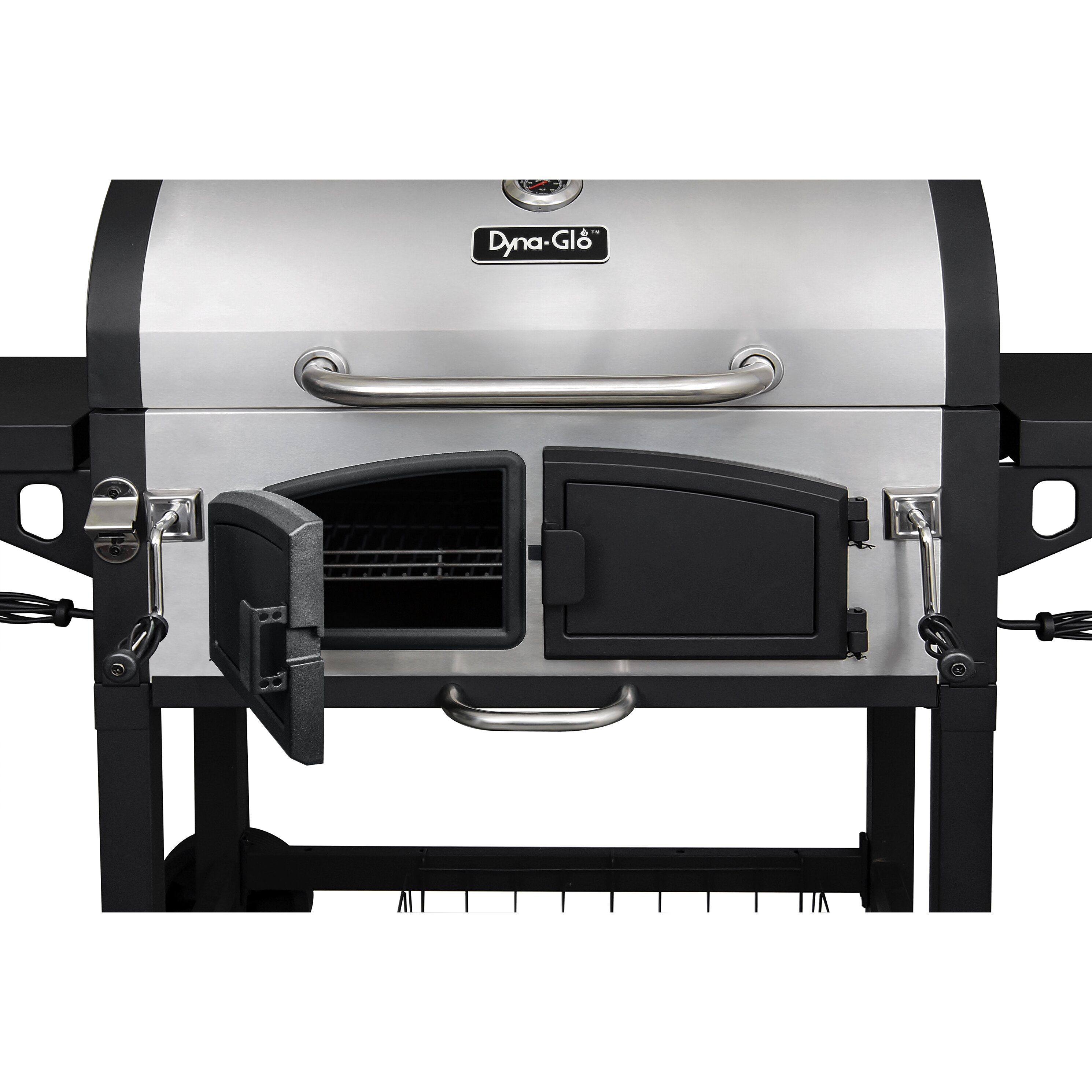 Dyna glo dual chamber charcoal grill with adjustable charcoal trays