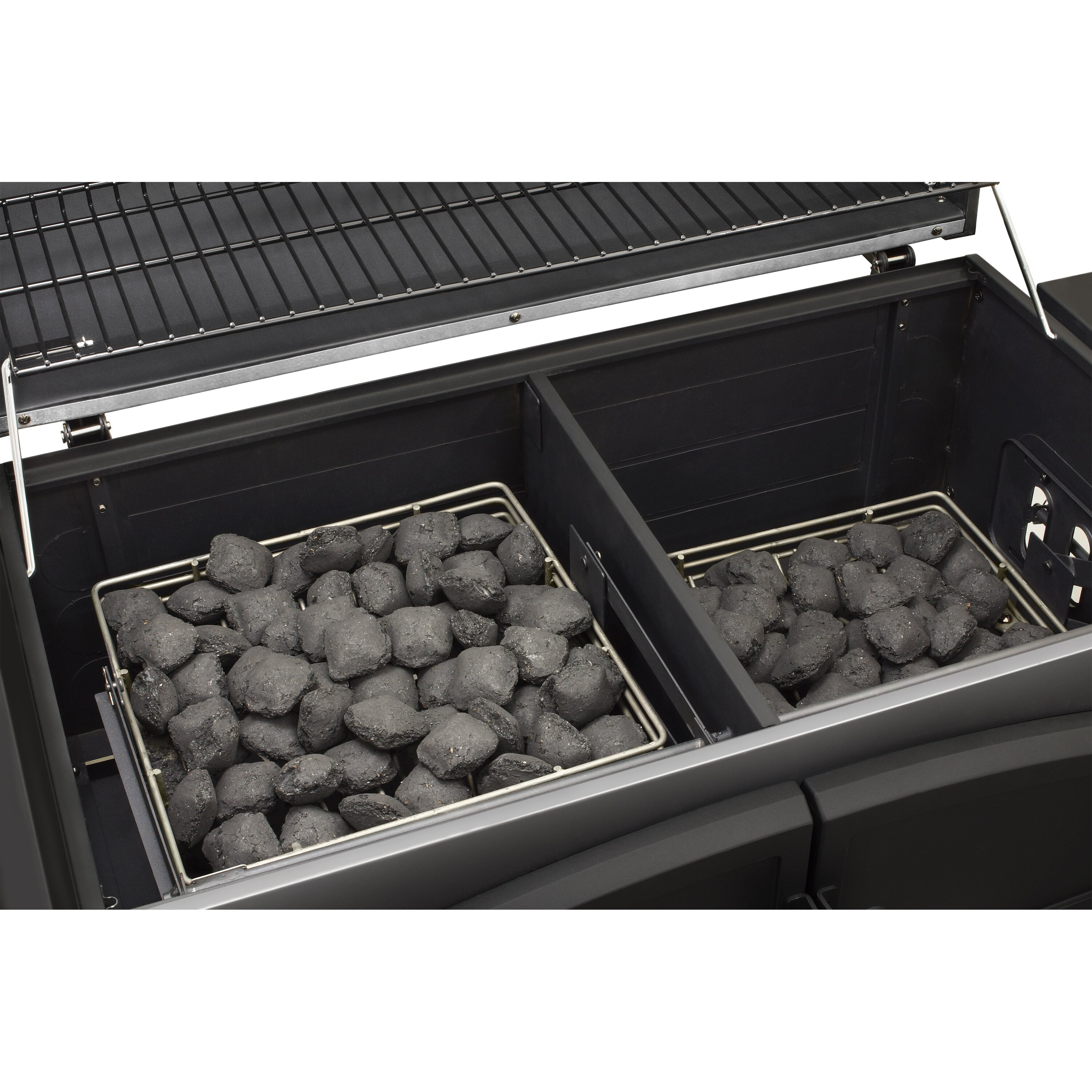 Dual chamber charcoal grill with adjustable charcoal trays by dyna glo