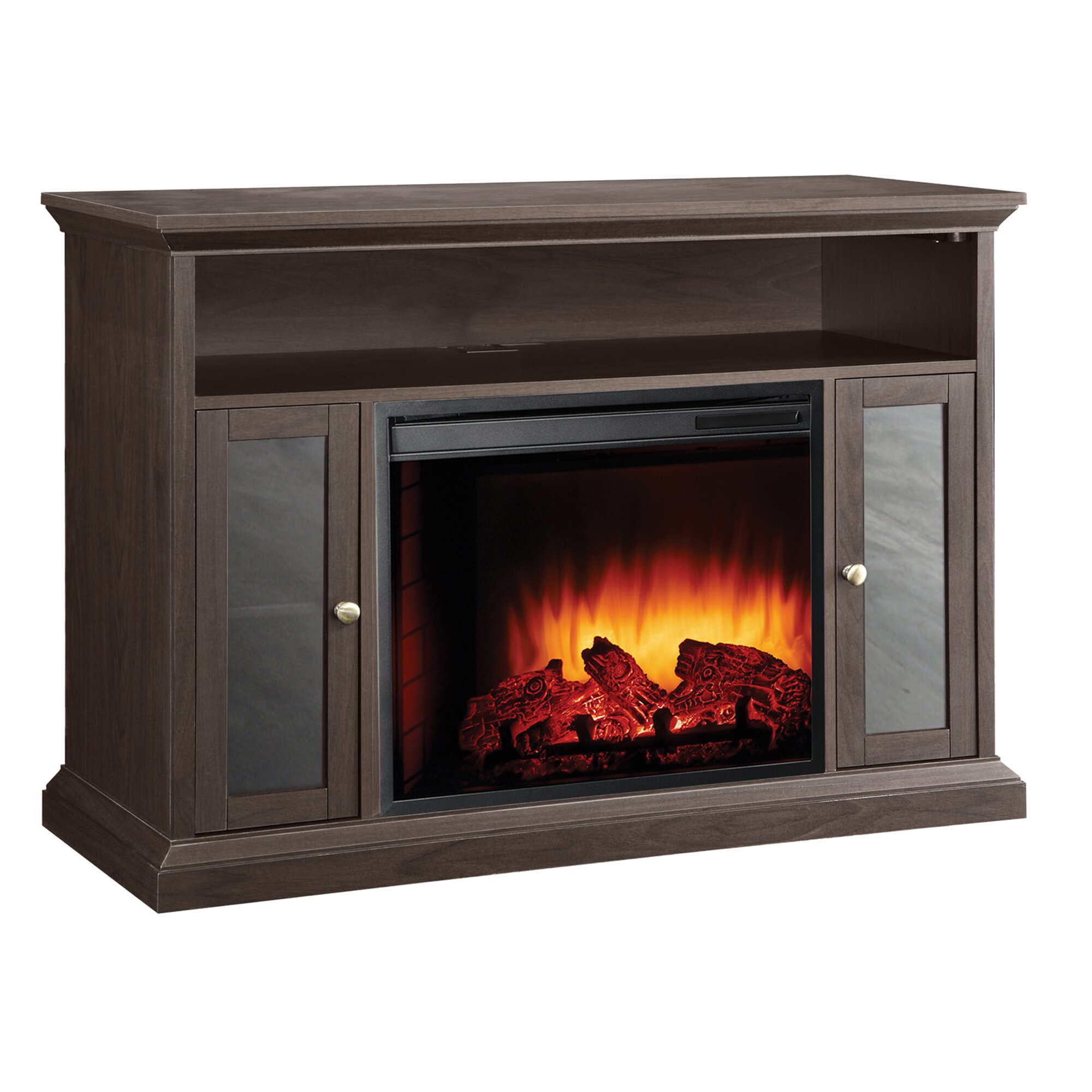 Pleasant Hearth Riley Media Cabinet And Electric Fireplace Reviews Wayfair