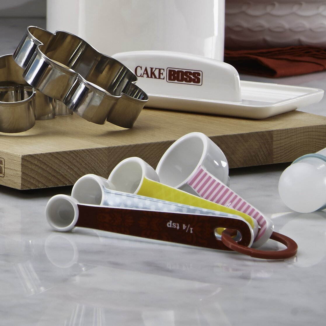 Countertop Accessories : Cake Boss 4 Piece Countertop Accessories Melamine Measuring Spoon Set
