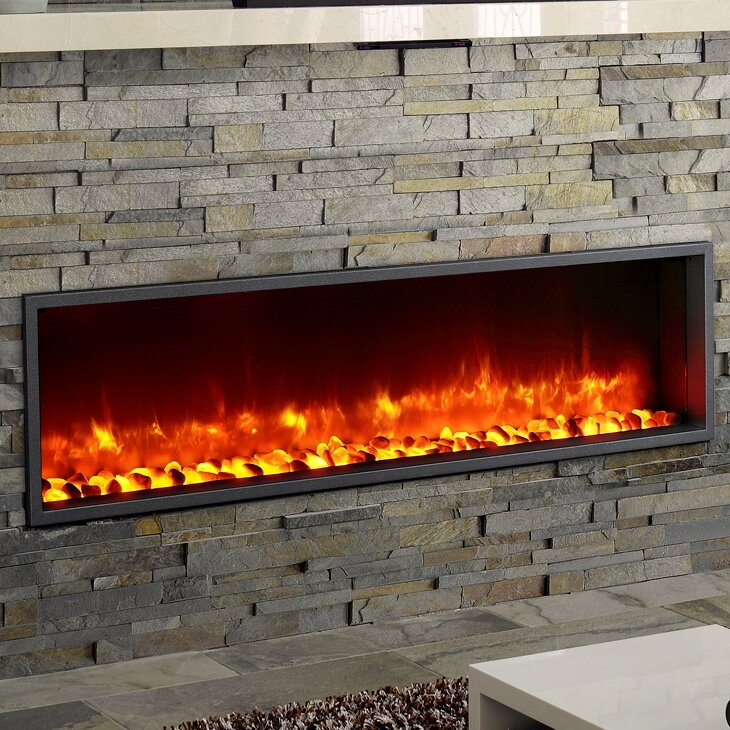 """Electric Firepace Insert Accent Wall: 55"""" Built-in LED Wall Mount Electric Fireplace Insert"""
