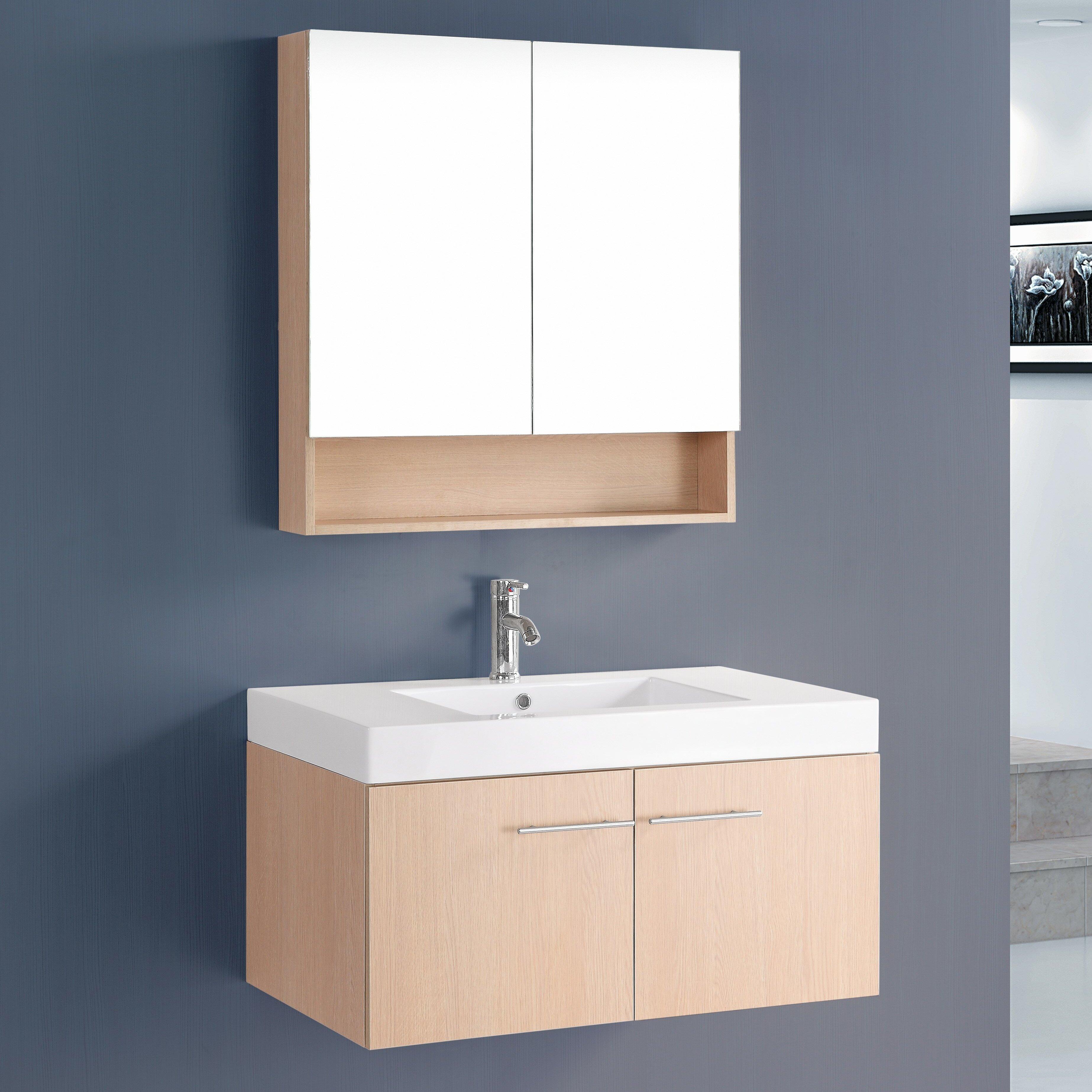 Bosconi Contemporary 36 Single Bathroom Vanity Set With Mirror Reviews Wayfair