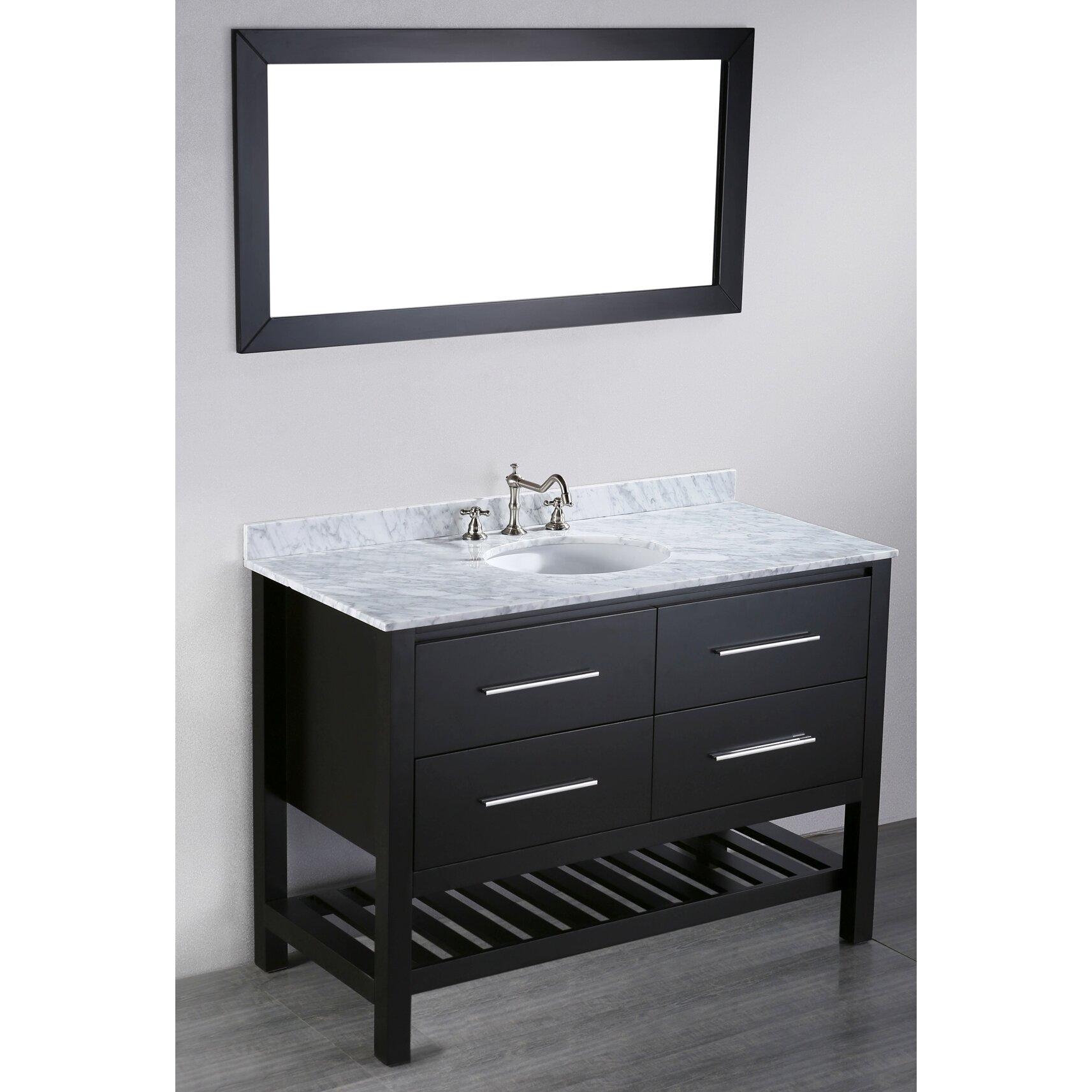 Contemporary 47 Single Bathroom Vanity Set With Mirror