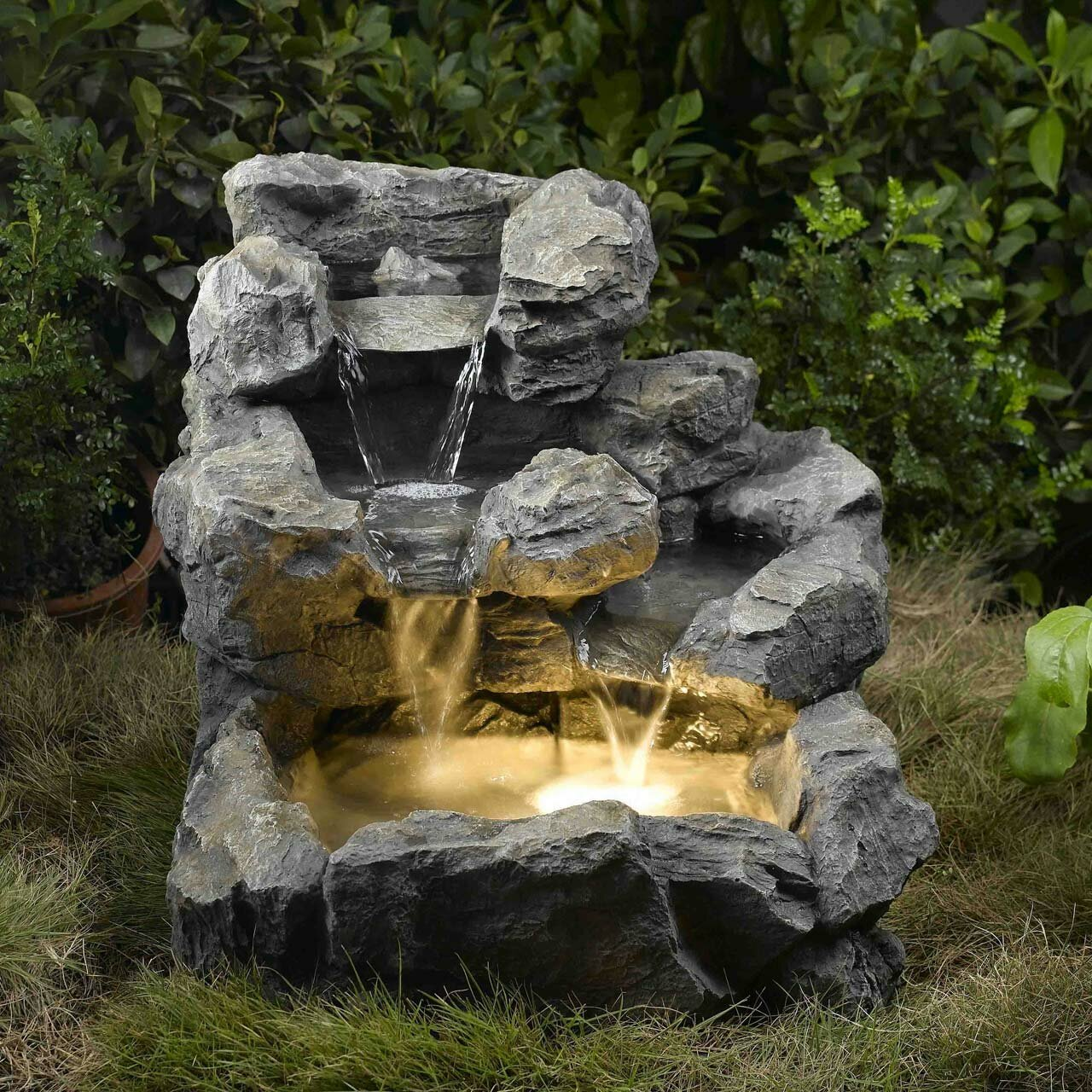Rock Water Fountains: Jeco Inc. Rock Creek Cascading Fountain With Lights