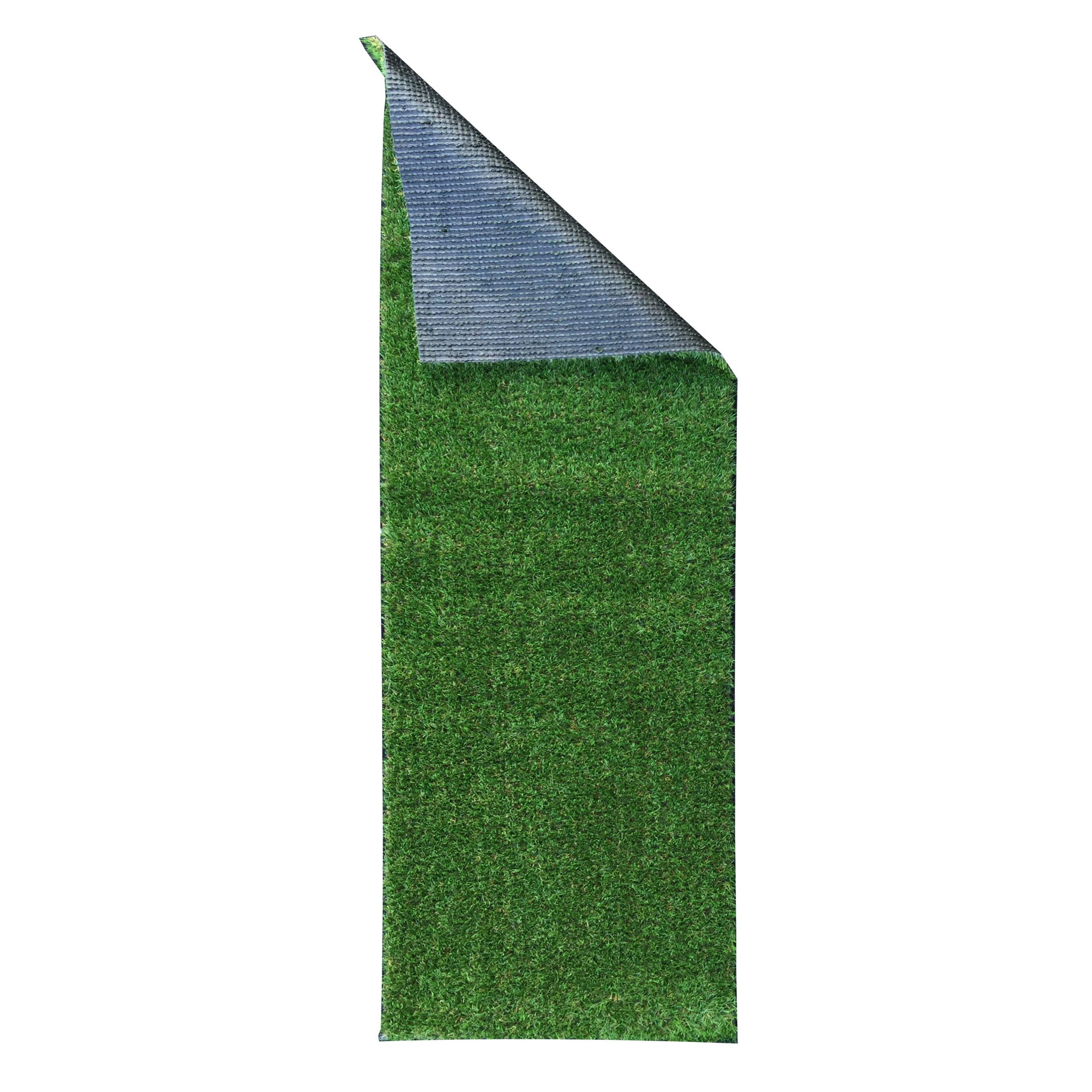 Ottomanson Evergreen Artificial Solid Grass Design Green