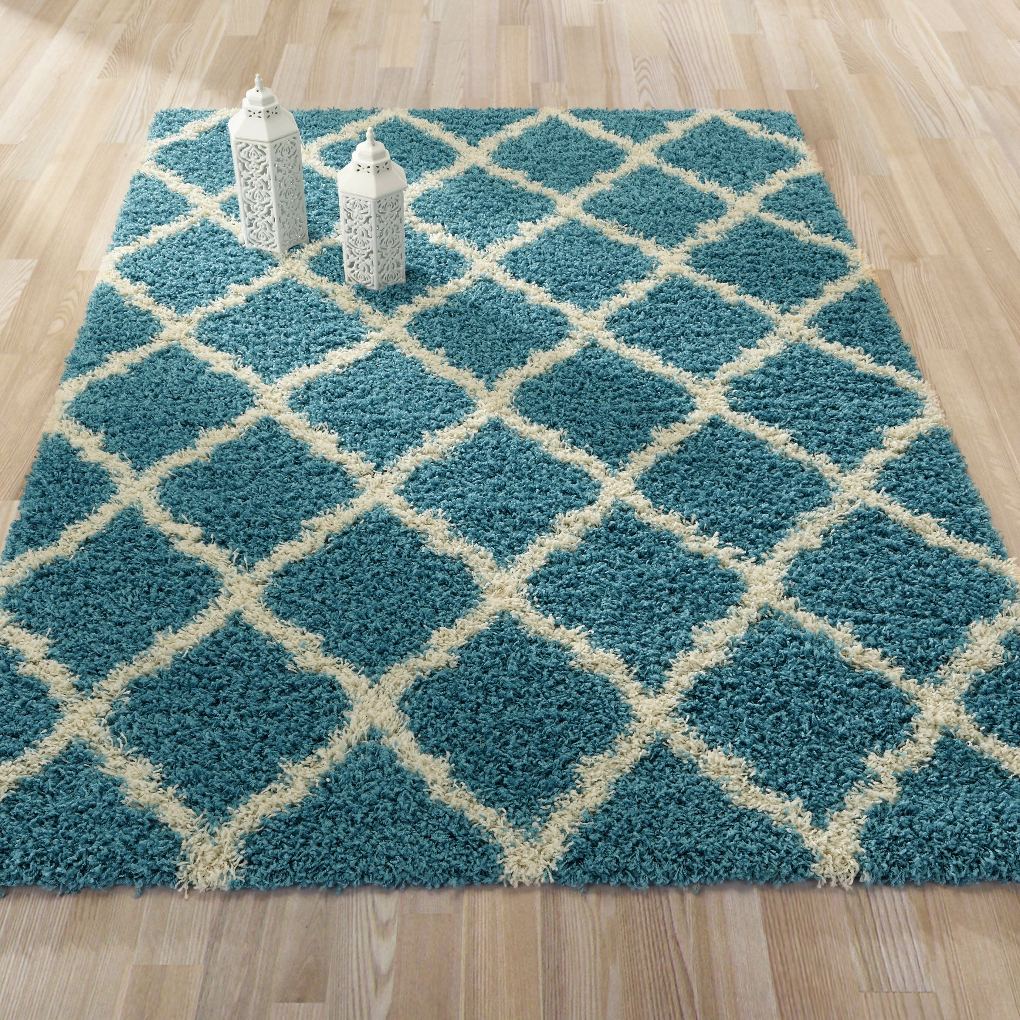 Ultimate moroccan trellis soft turquoise shaggy area rug for Soft area rugs