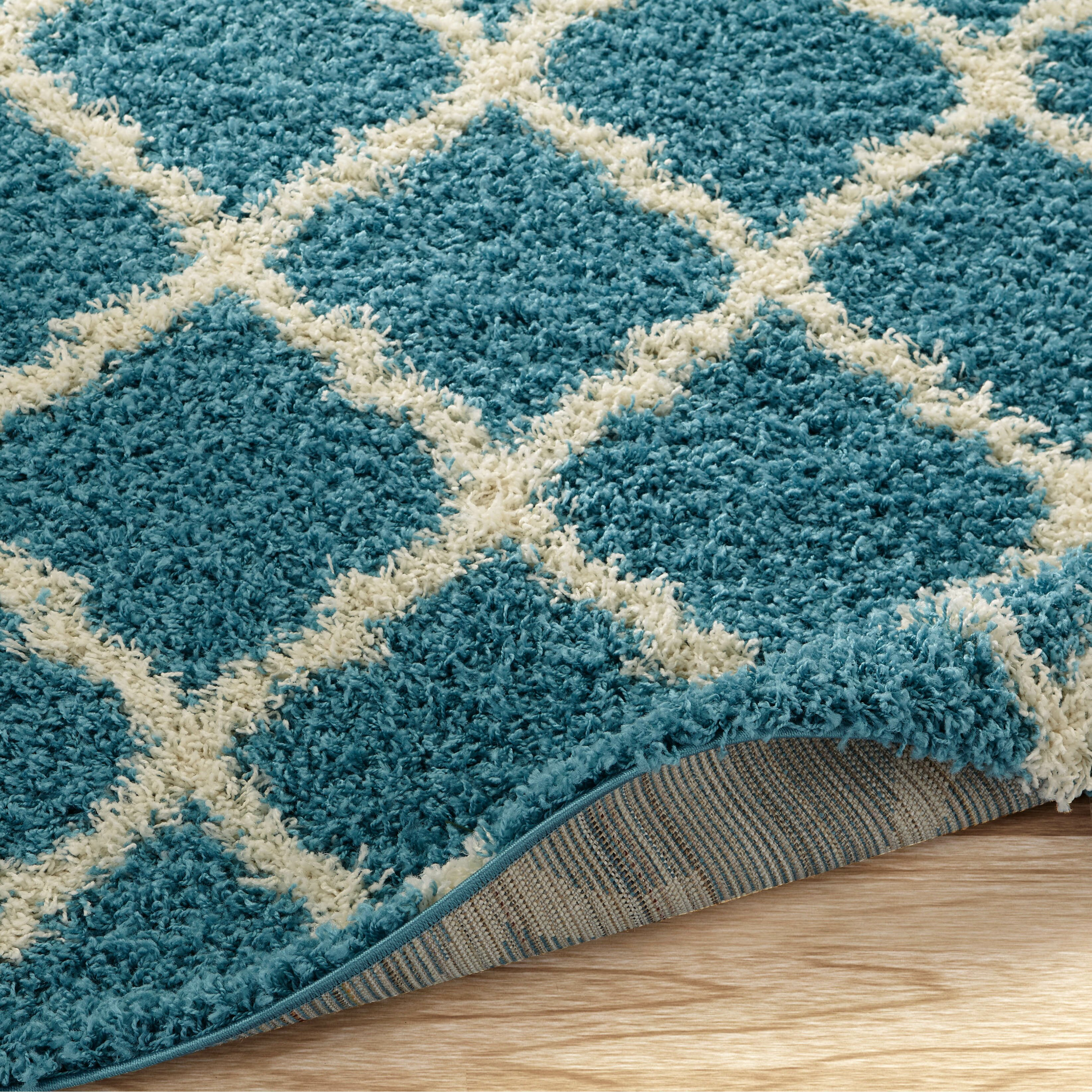 World Rug Gallery Florida Turquoise Area Rug Reviews: Ultimate Moroccan Trellis Soft Turquoise Shaggy Area Rug