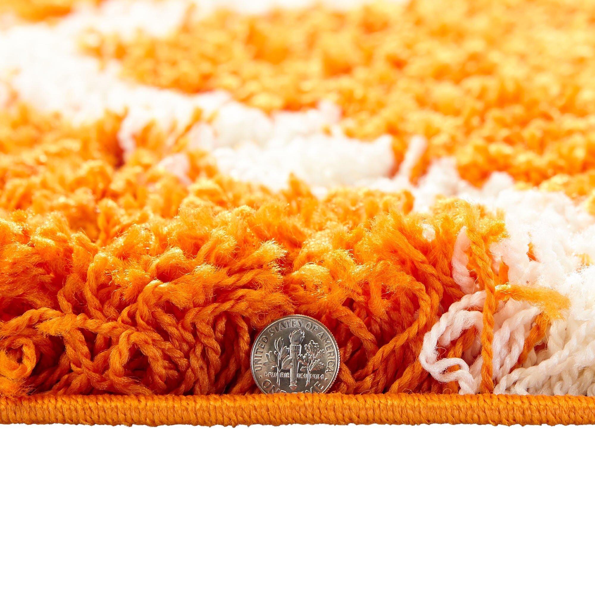 Ottomanson Ultimate Shaggy Contemporary Moroccan Trellis: Ultimate Moroccan Trellis Soft Orange Shaggy Area Rug