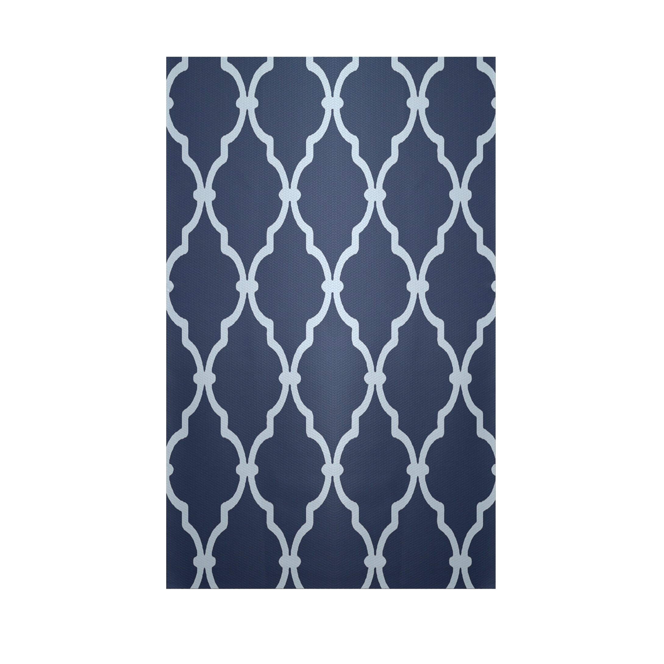 Geometric Navy Blue Indoor Outdoor Area Rug