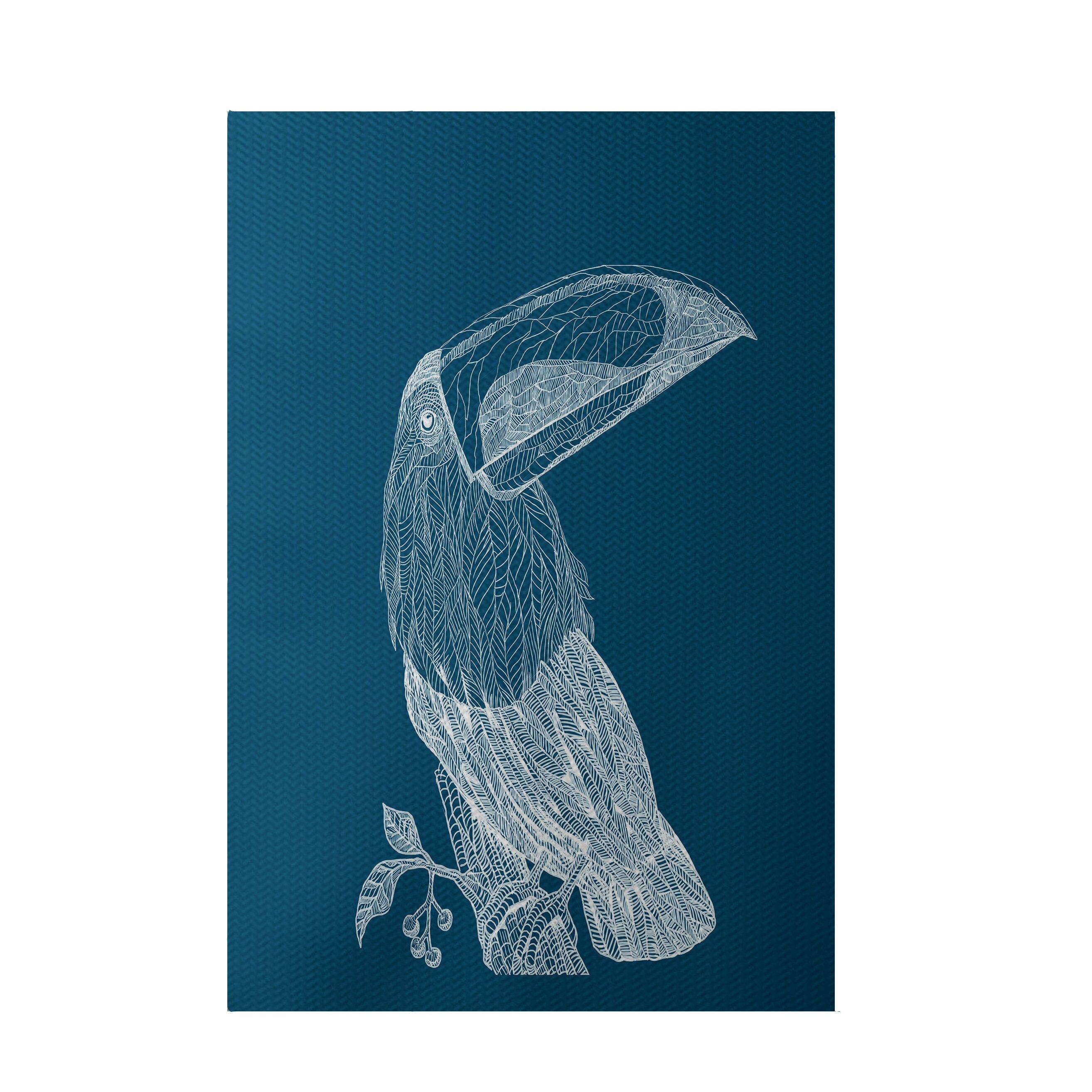 E By Design Bird Print Teal Indoor/Outdoor Area Rug