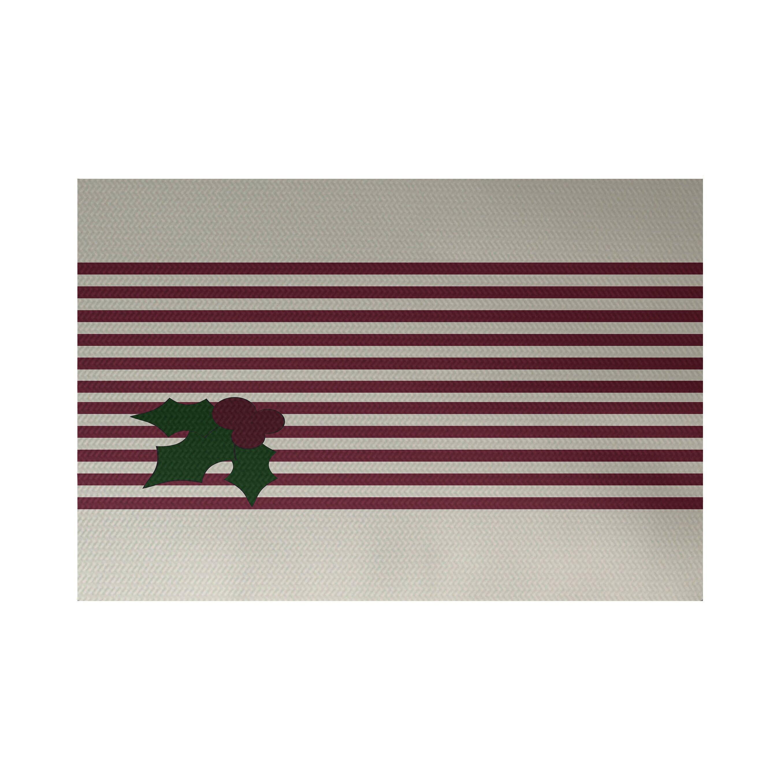Holly Stripe Decorative Holiday Stripe Print Cranberry