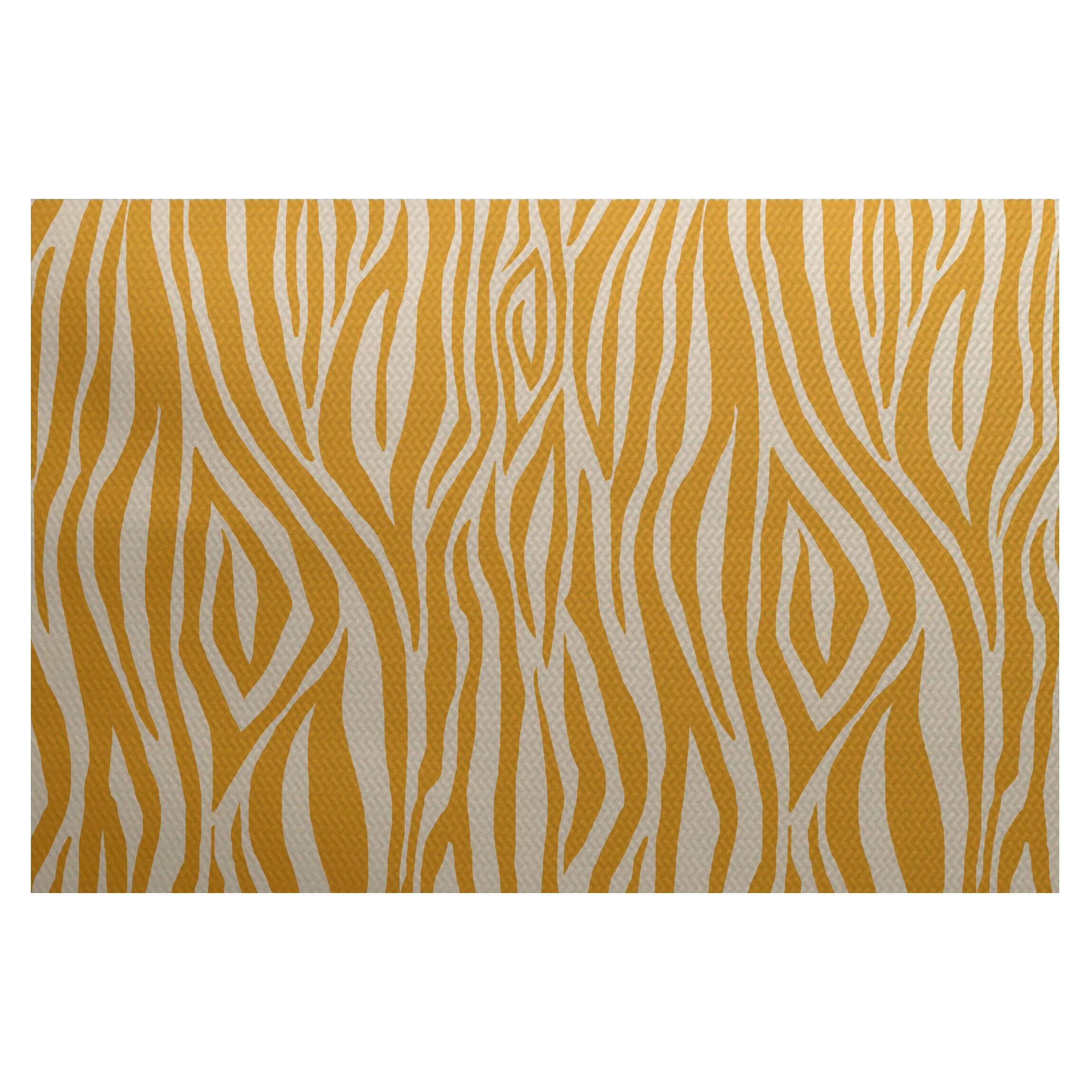 Flora and Fauna Gold Indoor Outdoor Area Rug