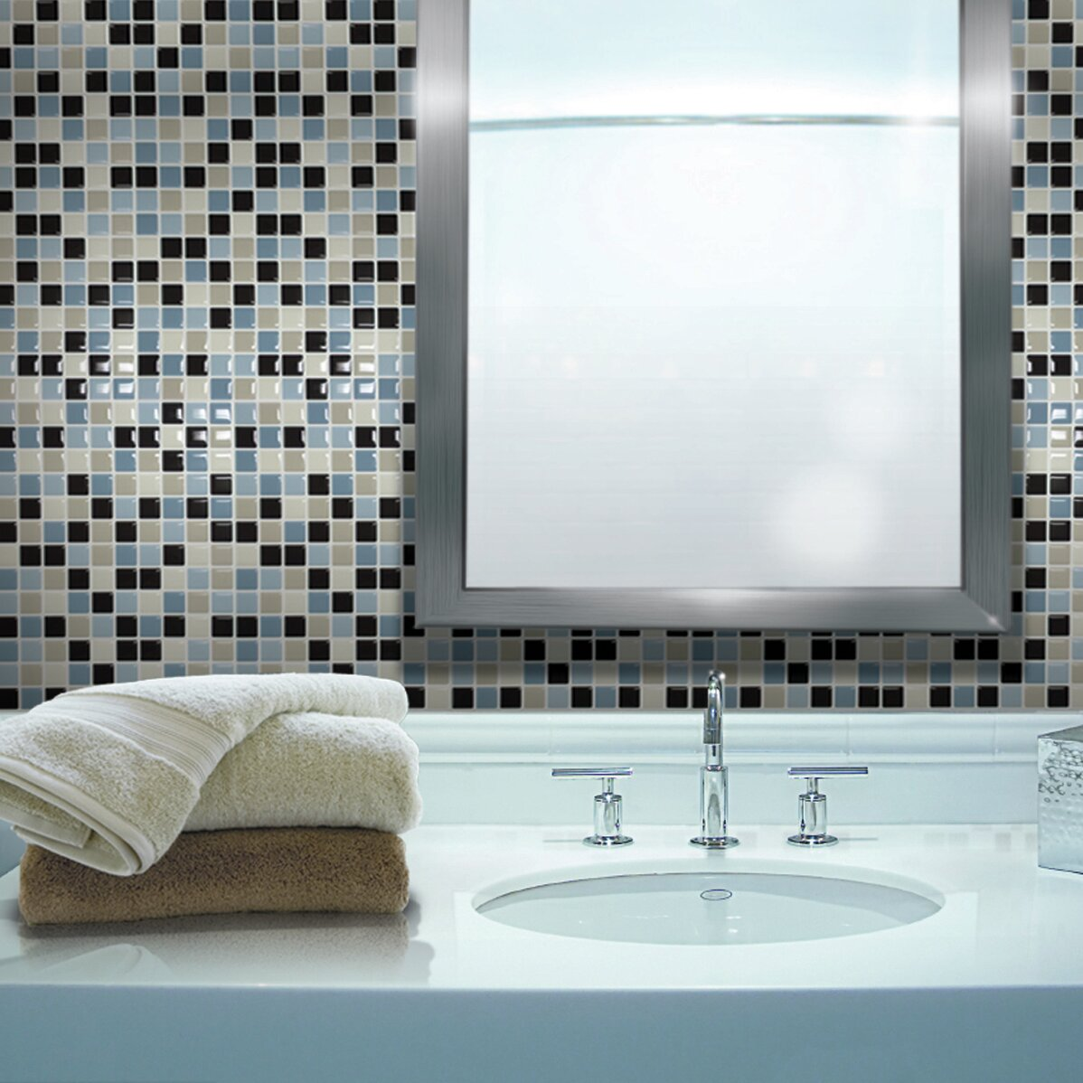 mosaik maya x peel stick wall tile in blue. Black Bedroom Furniture Sets. Home Design Ideas