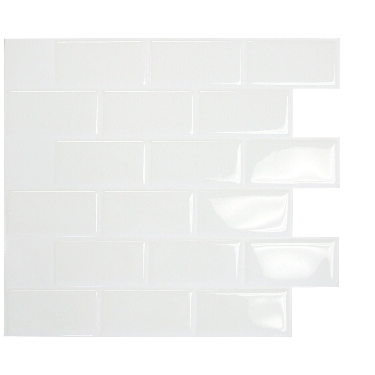 "Smart Tiles Mosaik Subway White 10.95"" X 9.70 "" Peel"