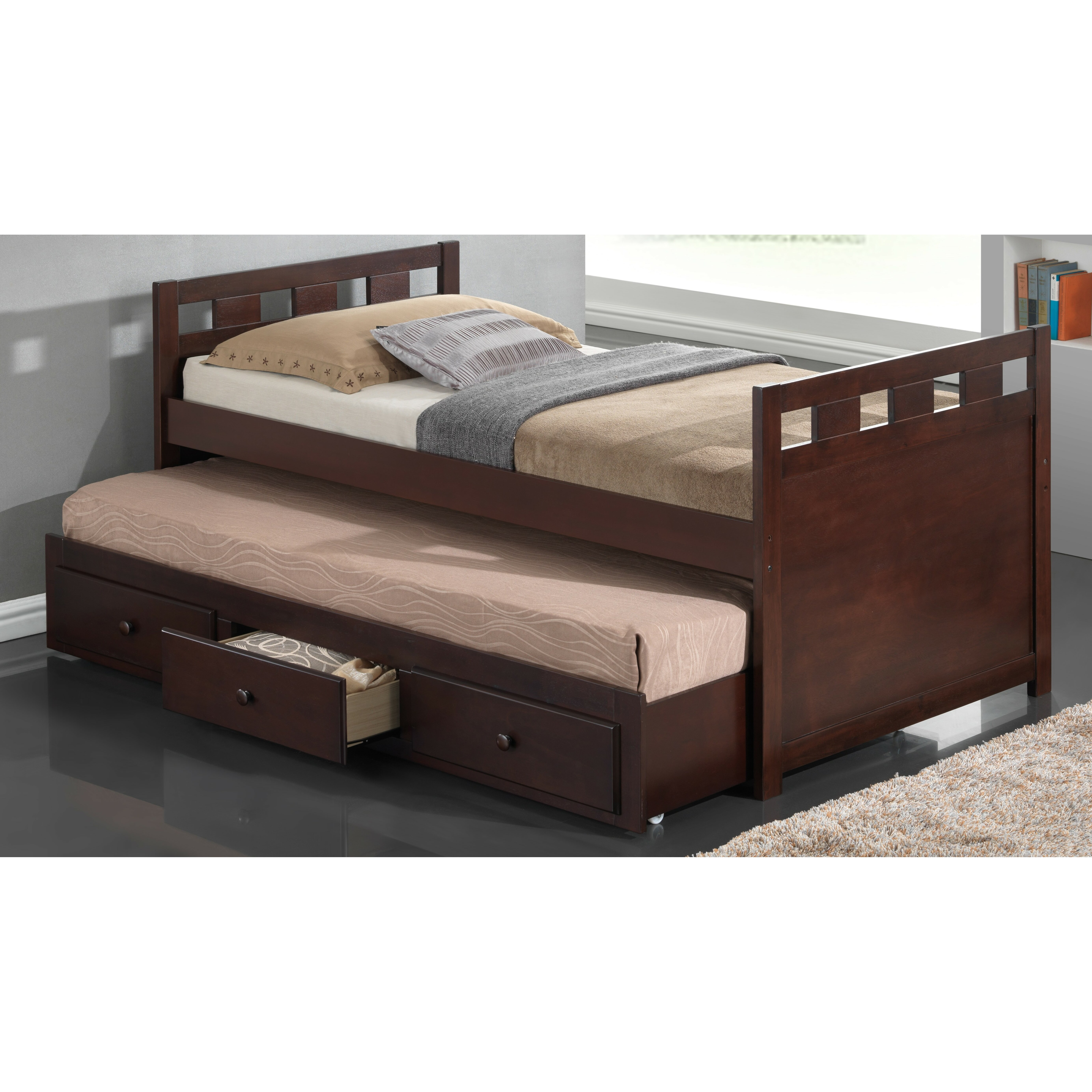 breckenridge twin captain bed with trundle and storage wayfair. Black Bedroom Furniture Sets. Home Design Ideas