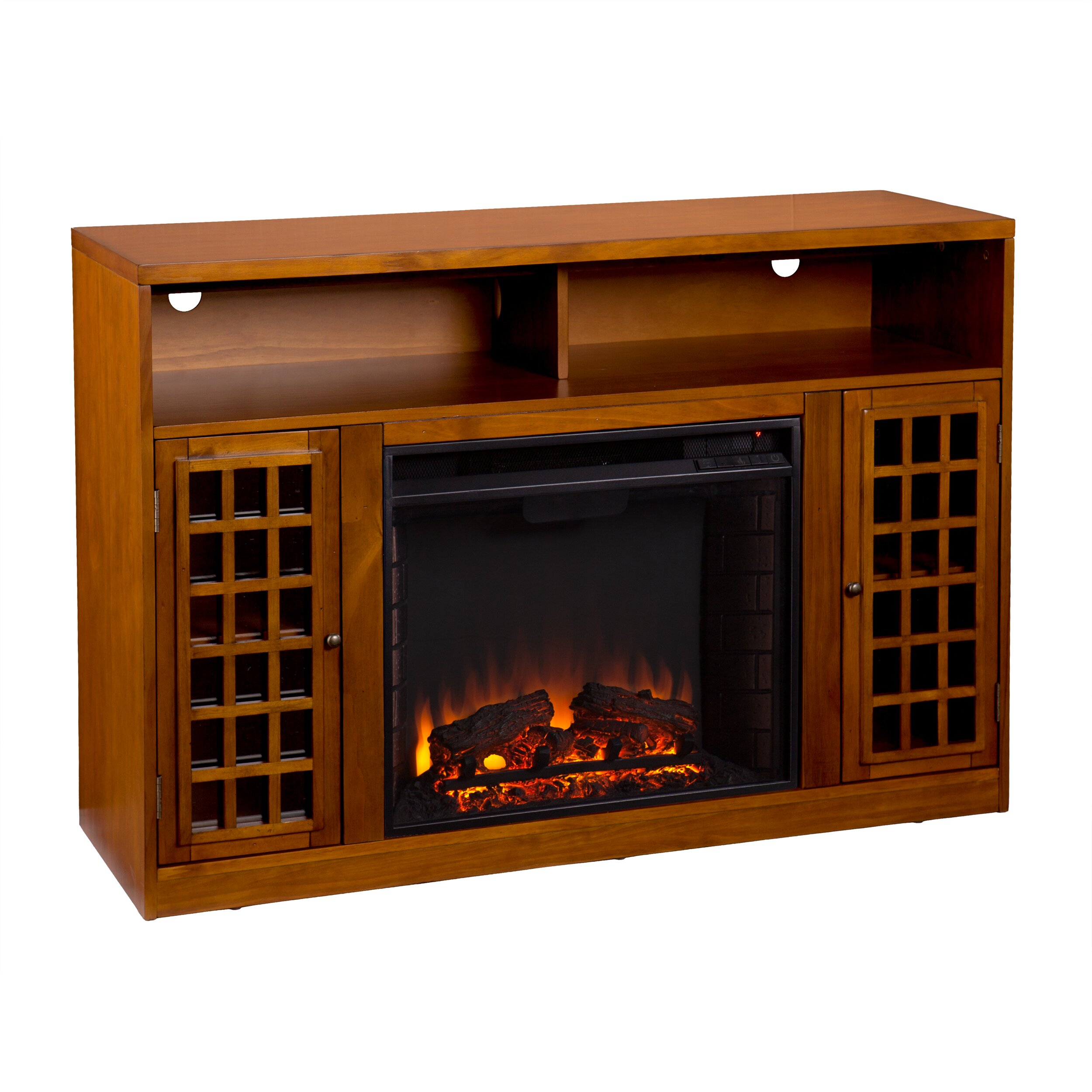 lipan tv stand with electric fireplace wayfair. Black Bedroom Furniture Sets. Home Design Ideas