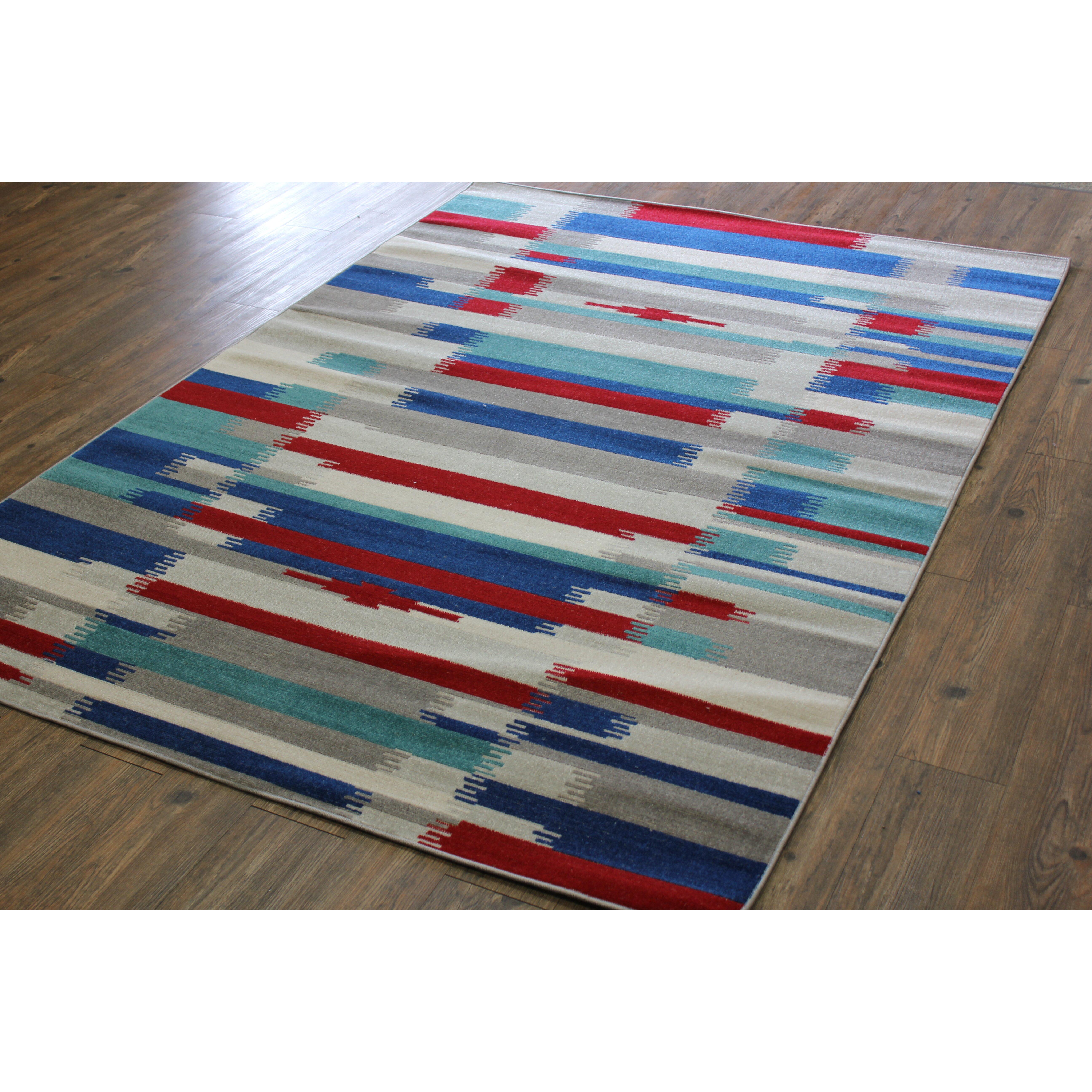 rug factory plus kilim blue red area rug allmodern. Black Bedroom Furniture Sets. Home Design Ideas