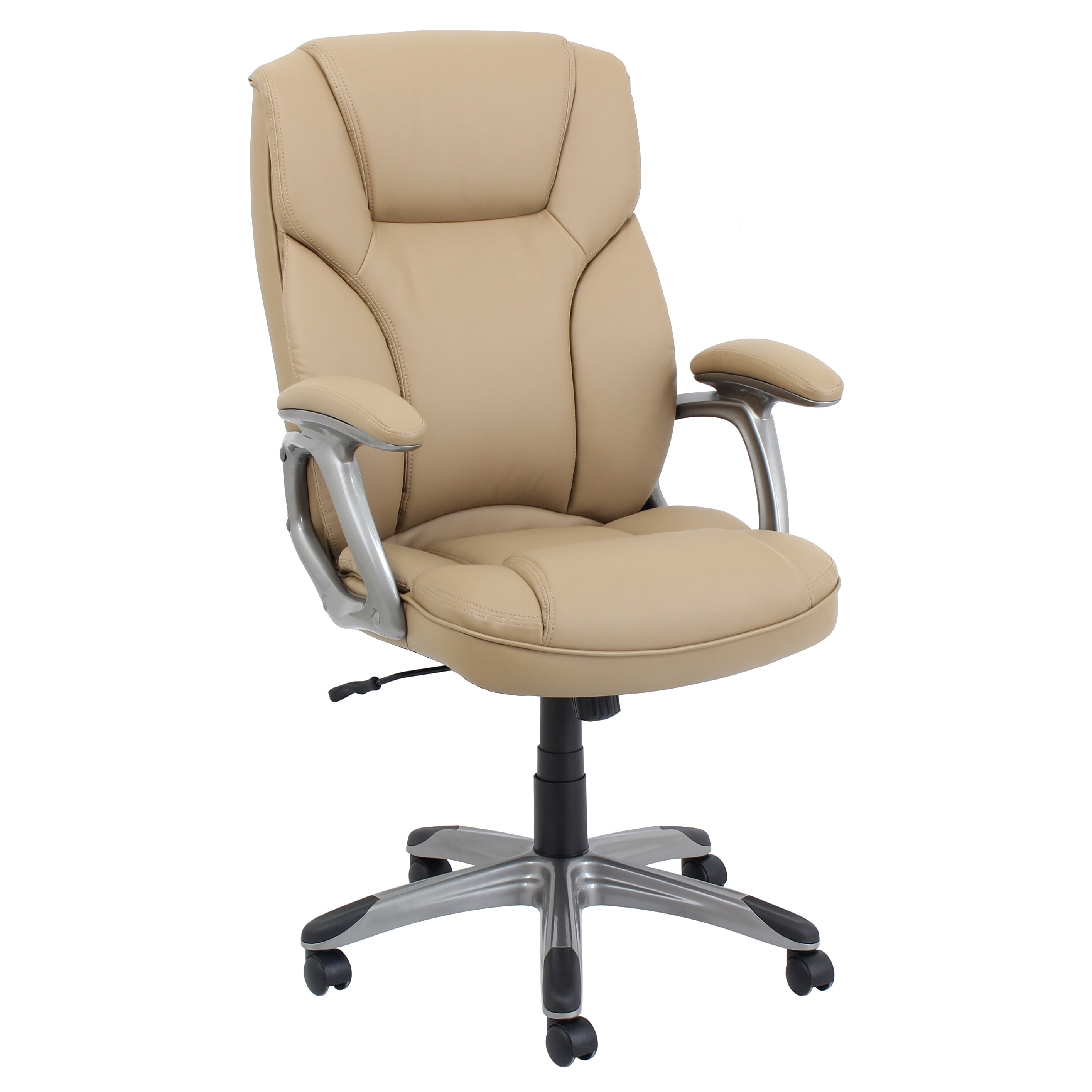High-Back Leather Executive Office Chair With Arms