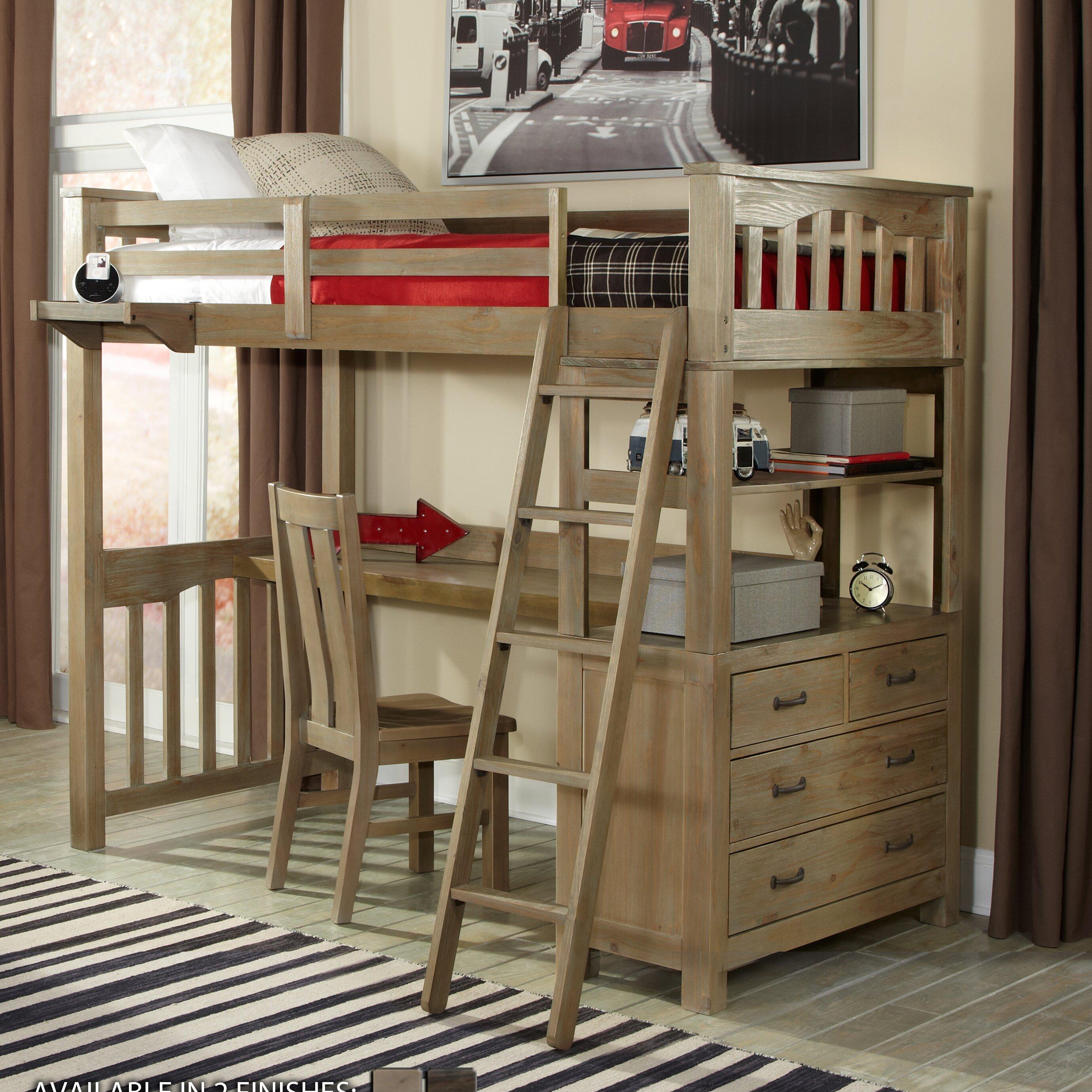 ne kids highlands loft bed with storage reviews wayfair. Black Bedroom Furniture Sets. Home Design Ideas