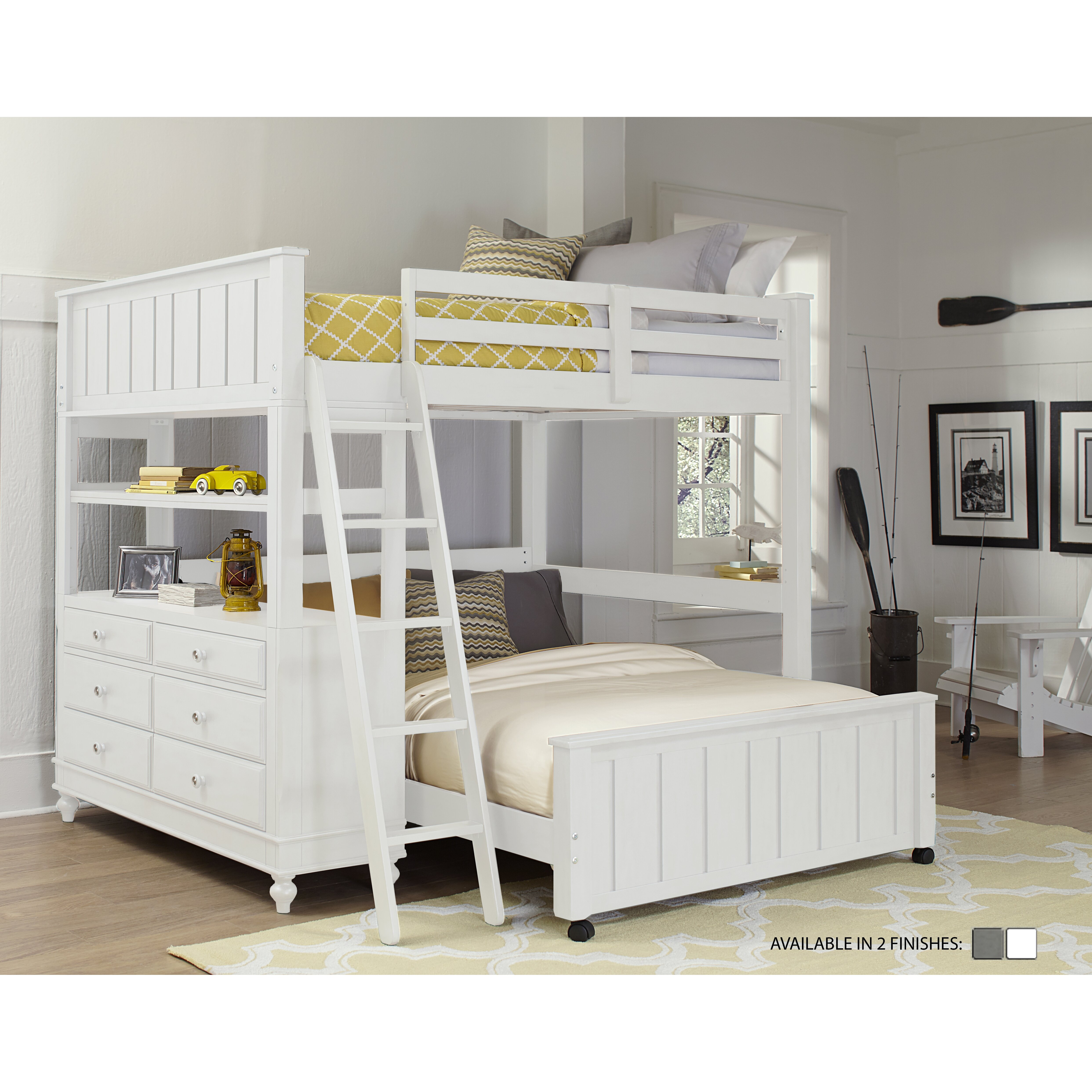 ne kids lake house loft with full size lower bed reviews wayfair. Black Bedroom Furniture Sets. Home Design Ideas