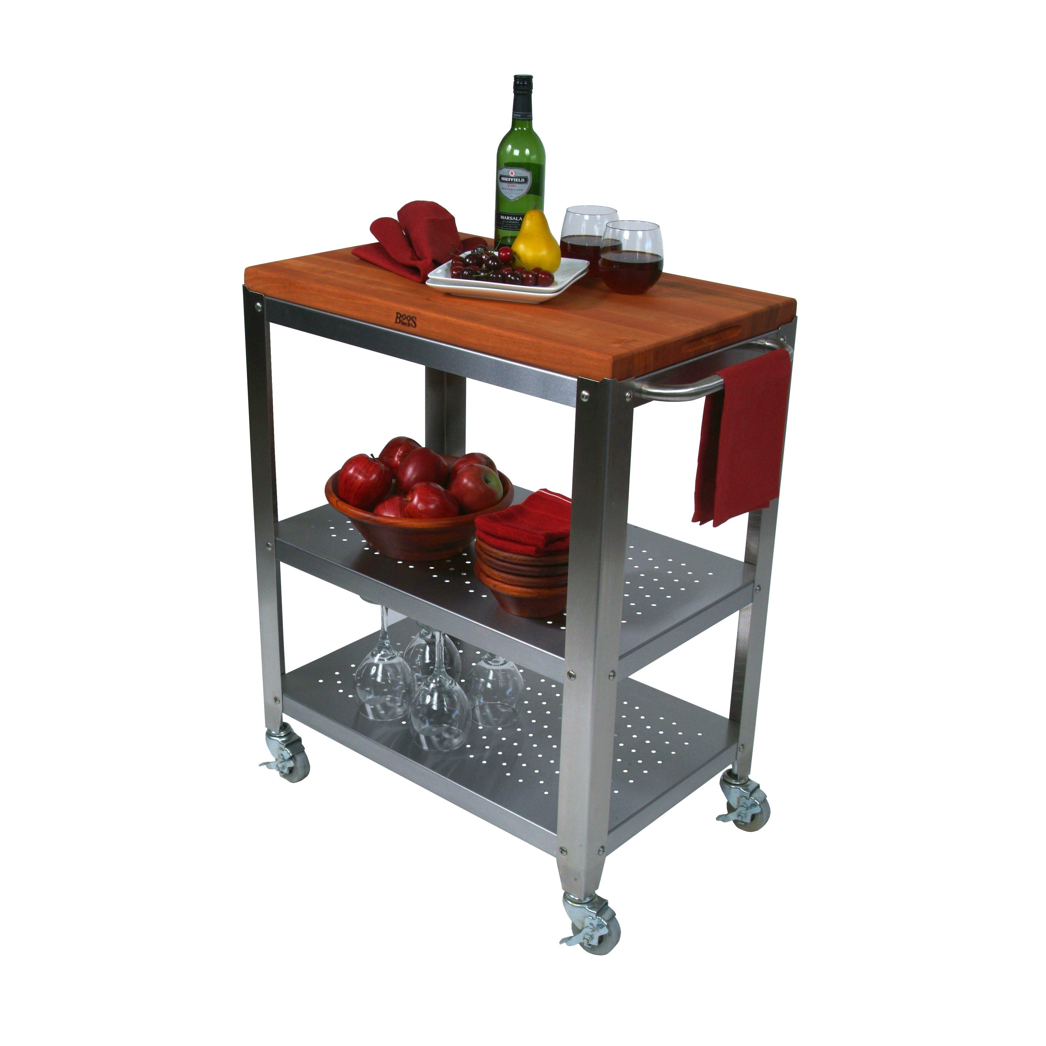 Cucina americana culinarte kitchen cart with wood top wayfair - Cucina americana ...