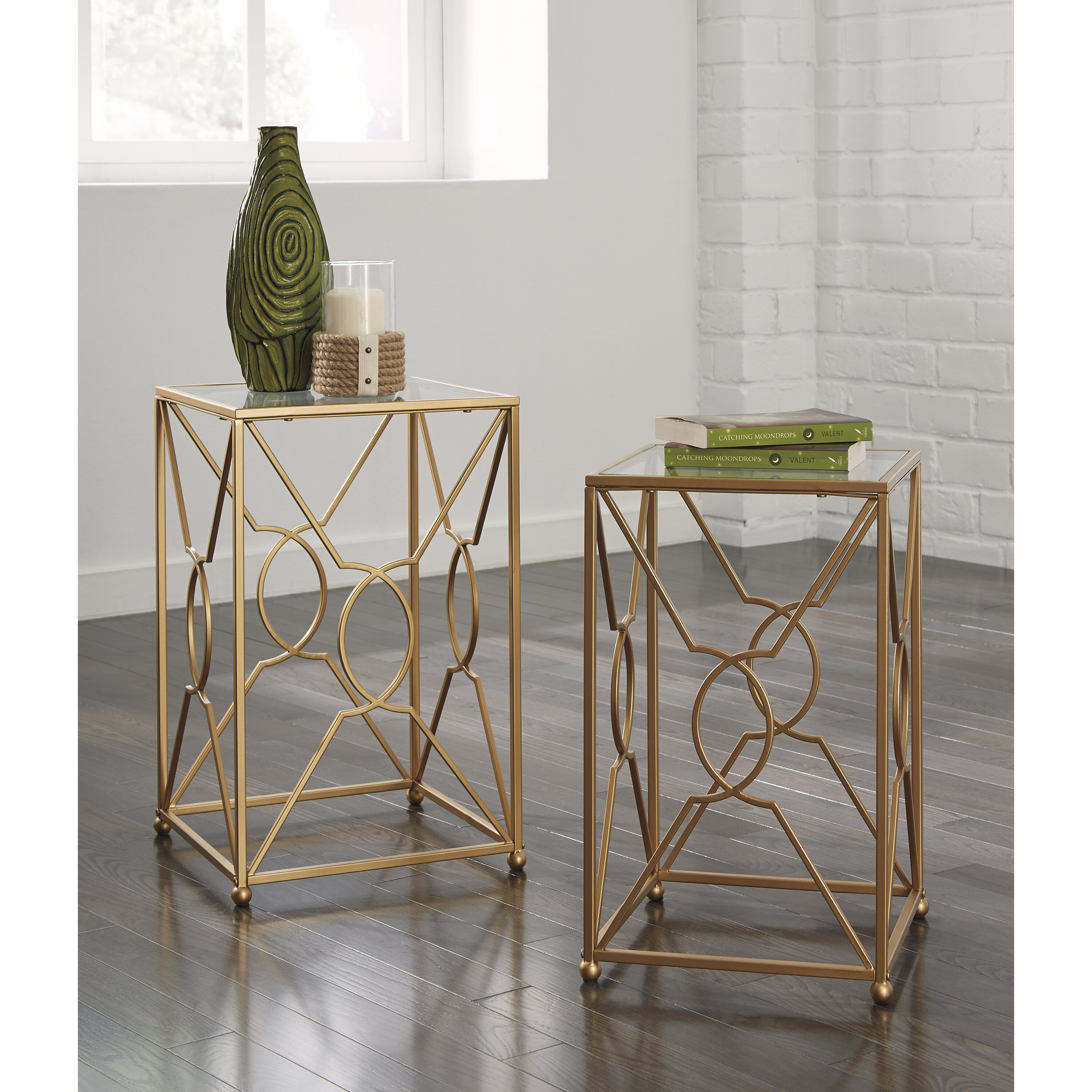 Ashley Mallacar Piece Coffee Table Set In Black T: Marxim 2 Piece End Table Set