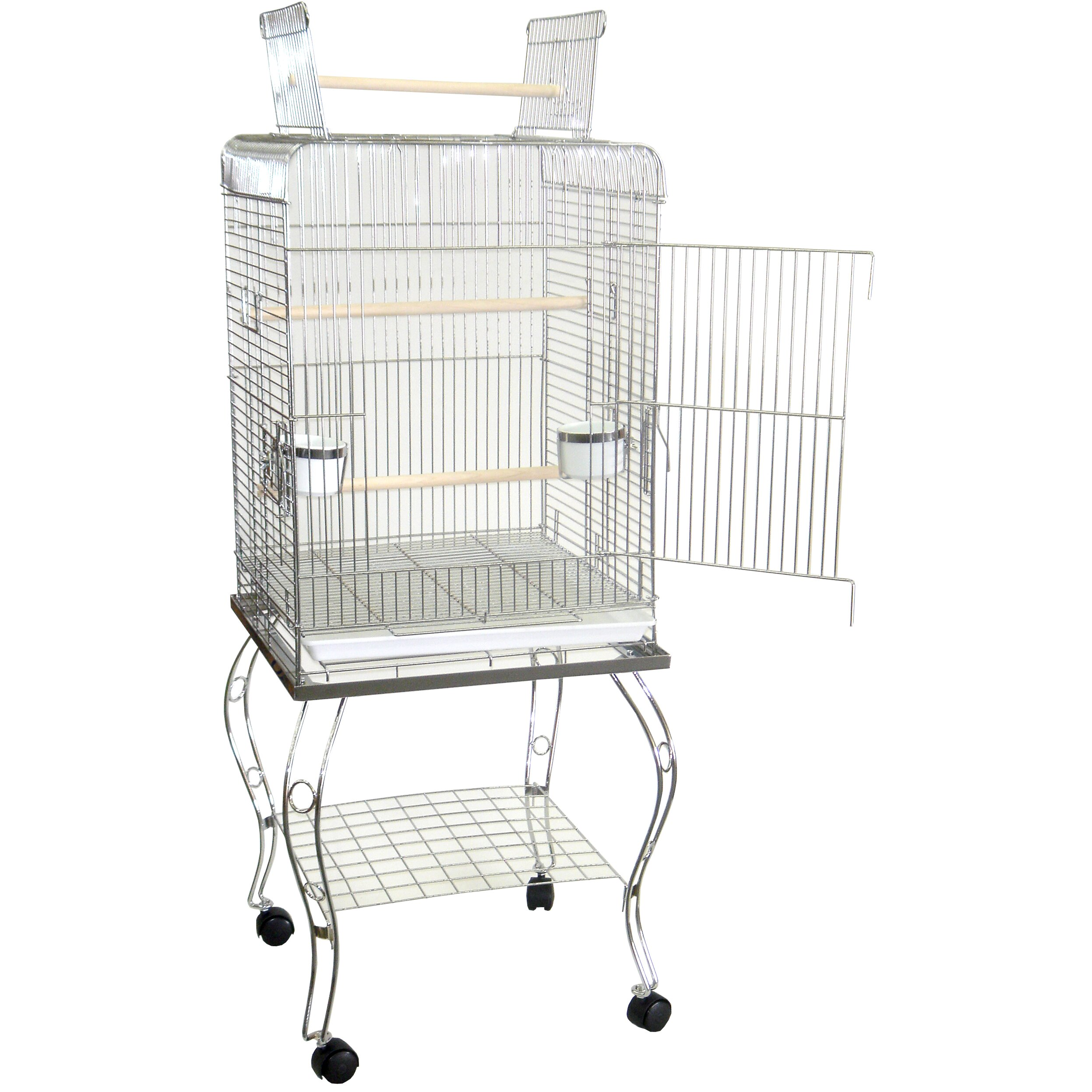 open top parrot bird cage with stand wayfair. Black Bedroom Furniture Sets. Home Design Ideas