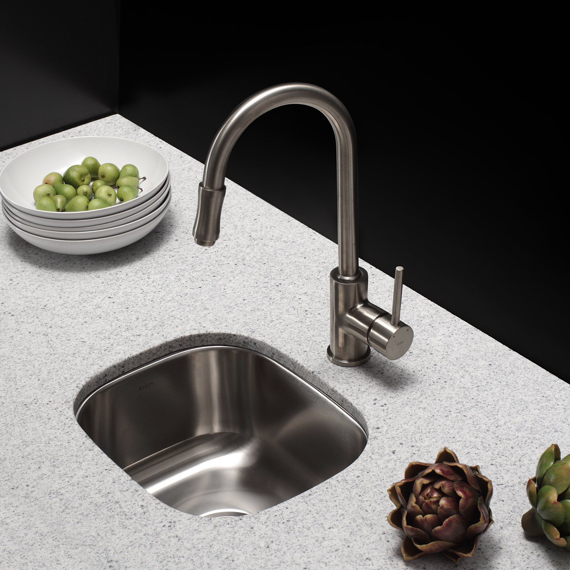 """Kitchen Sink Set: 18"""" X 15"""" 3 Piece Undermount Single Bowl Kitchen Sink Set"""