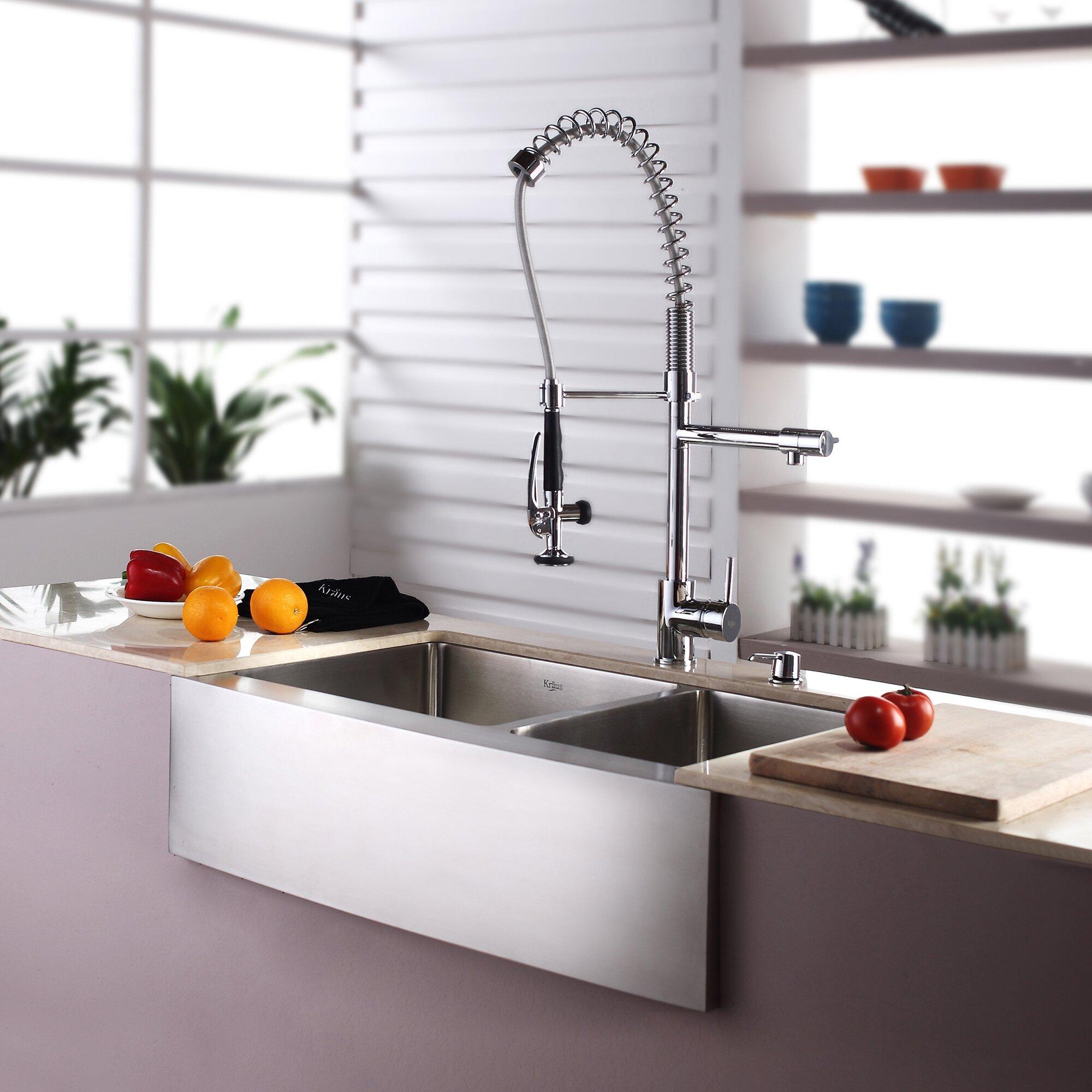 Farmhouse Sink With Two Bowls : Kraus Farmhouse 33