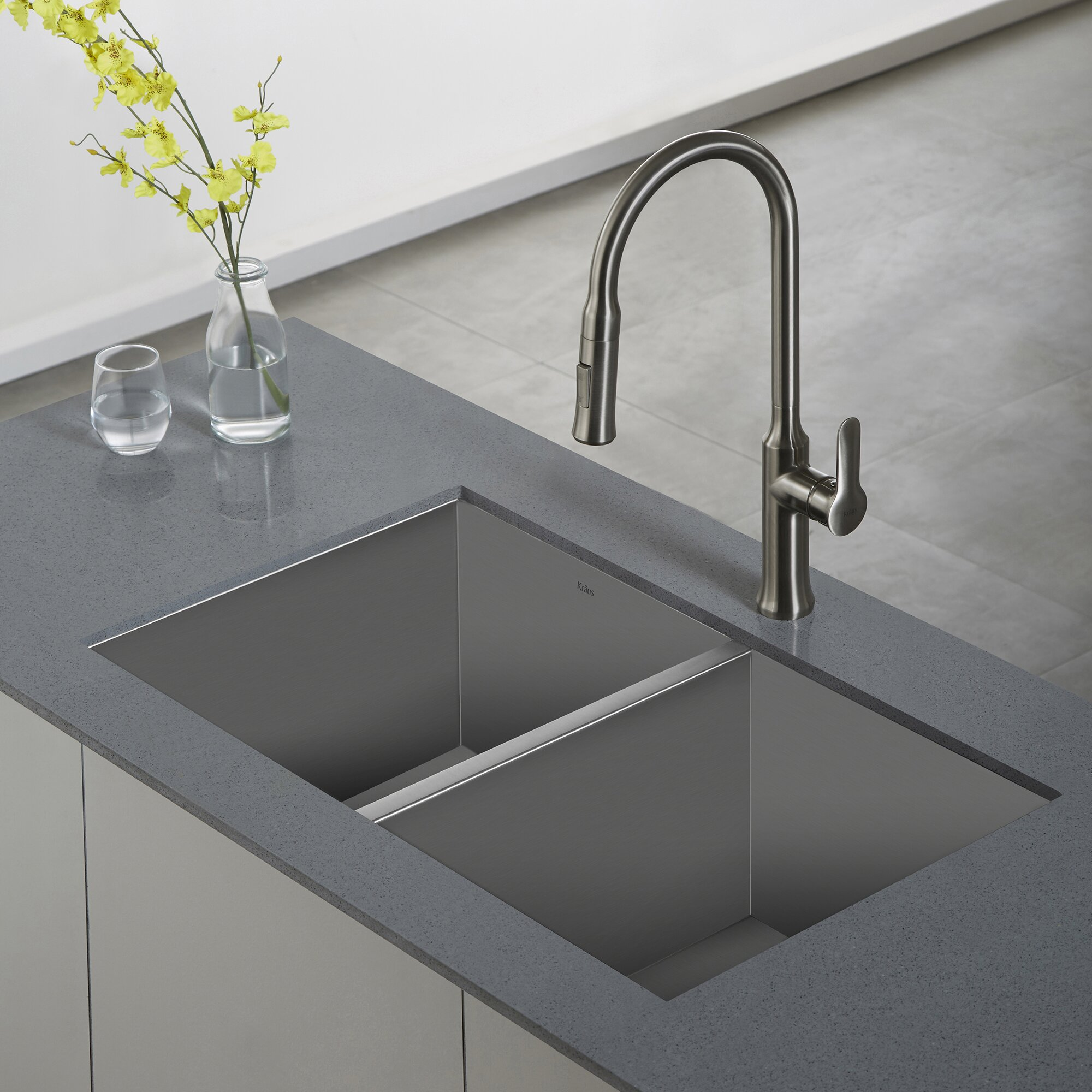 ... Handmade Undermount 50/50 Double Bowl Stainless Steel Kitchen Sink by