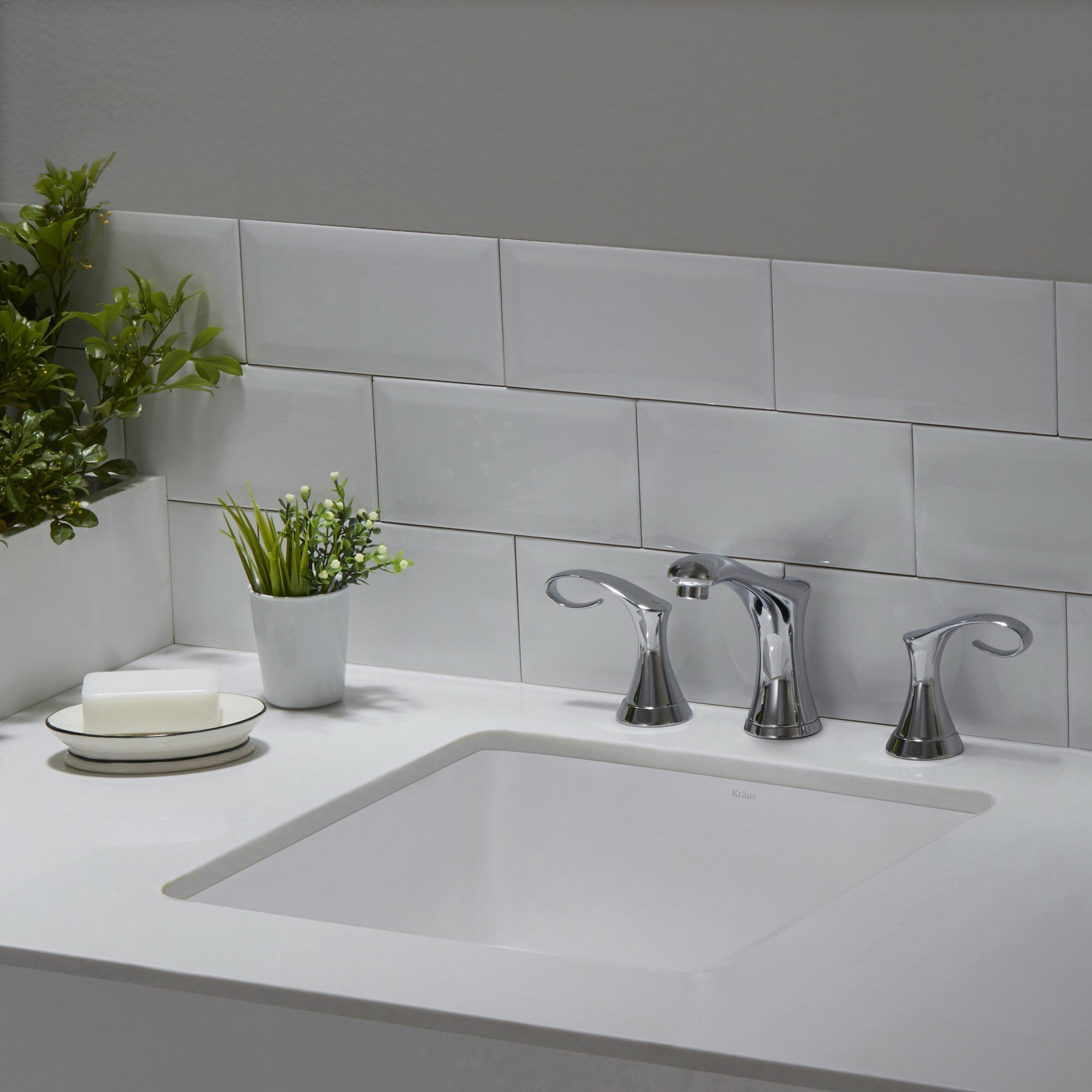 Elavo Ceramic Square Undermount Bathroom Sink With Overflow Wayfair