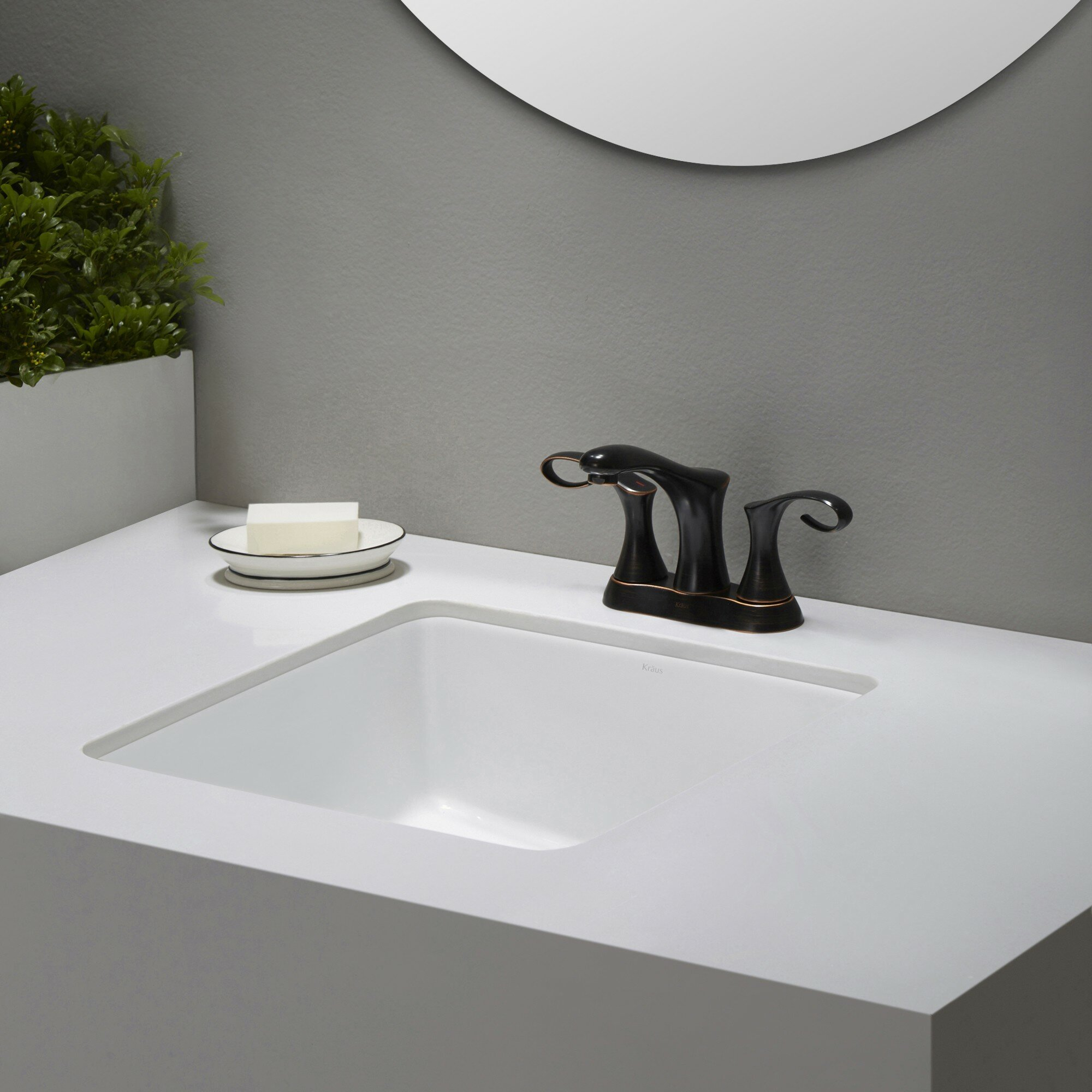 Elavo™ Ceramic Square Undermount Bathroom Sink with ...