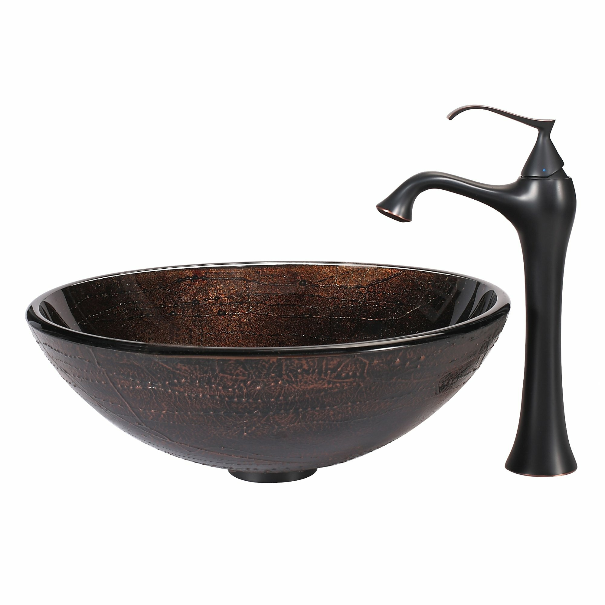 Copper Illusion Glass Vessel Sink and Ventus Faucet Wayfair